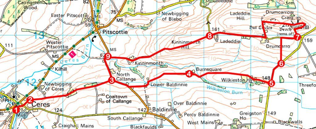 Take a Hike 159 – April 8, 2017 - Drumcarrow Craig from Ceres, Fife OS map extract
