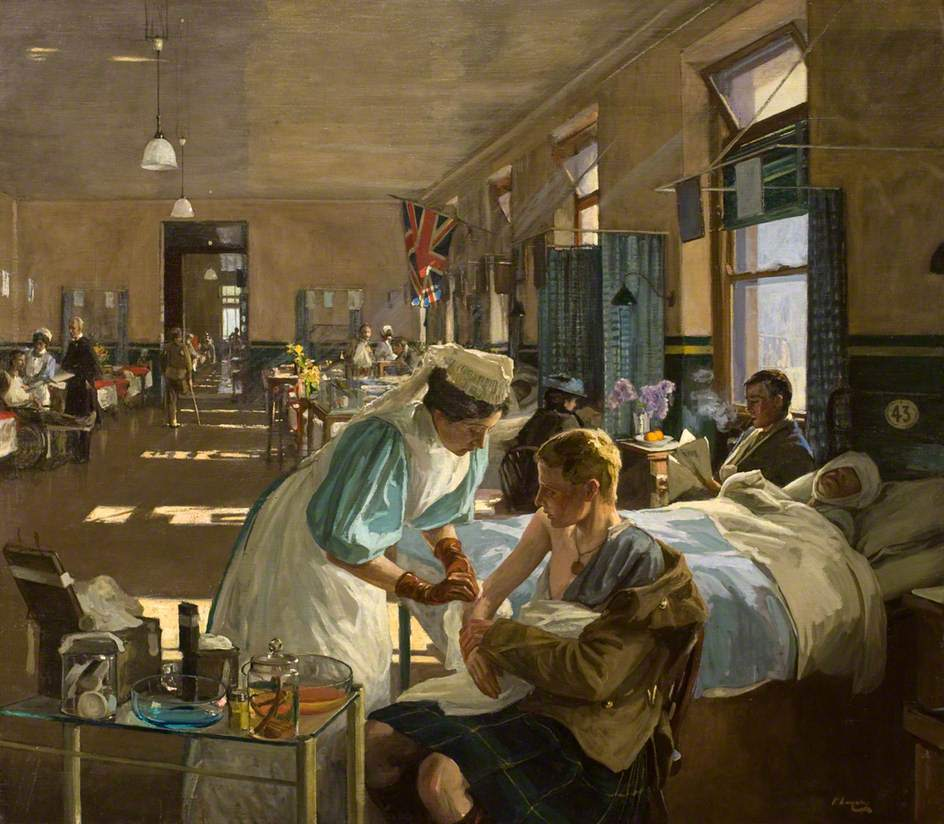The First Wounded, London Hospital, August 1914 by John Lavery: Dundee Art Galleries and Museums Collection (Dundee City Council).