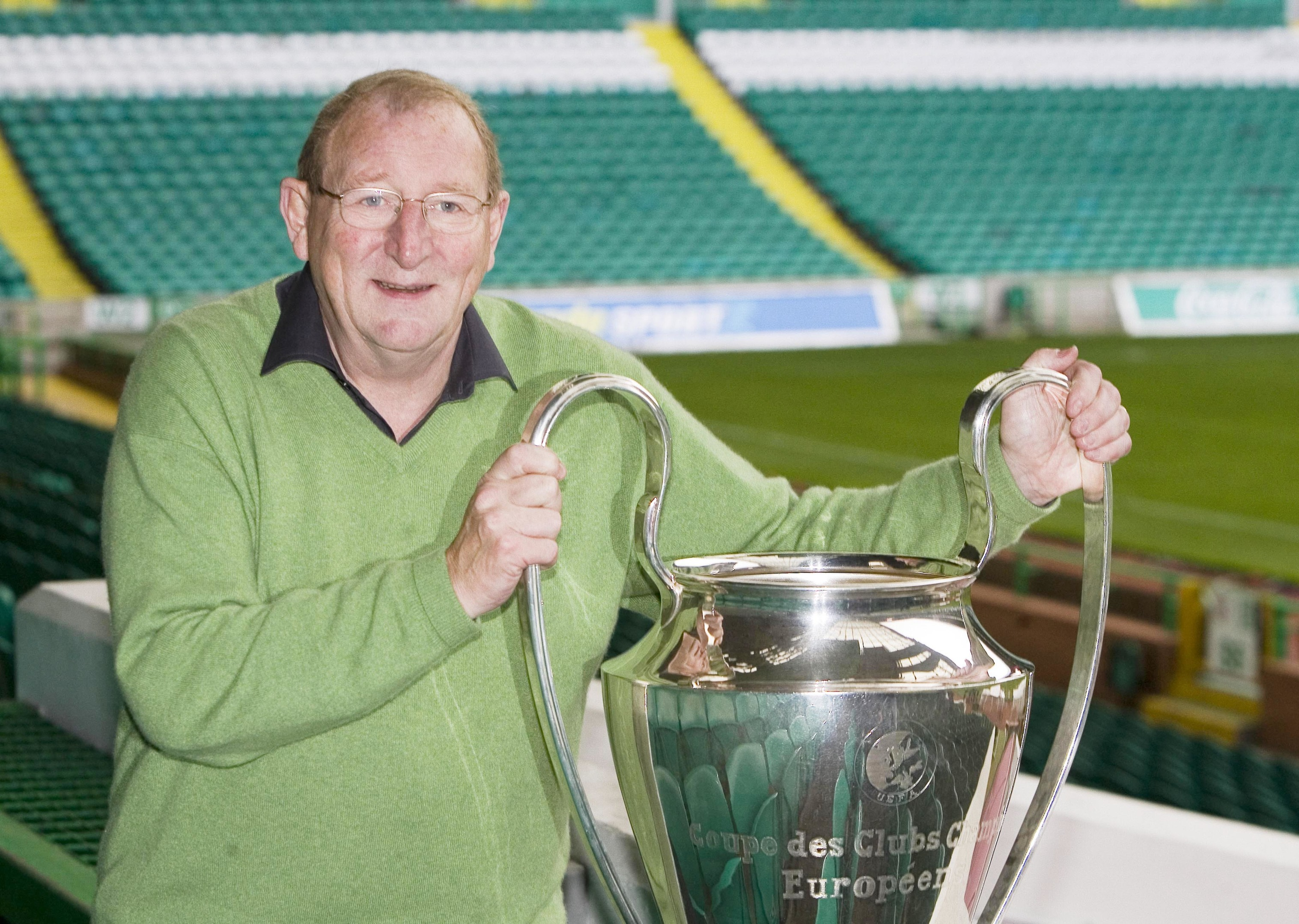 Tommy Gemmell gets to grips with the European Cup at Celtic Park in 2006.