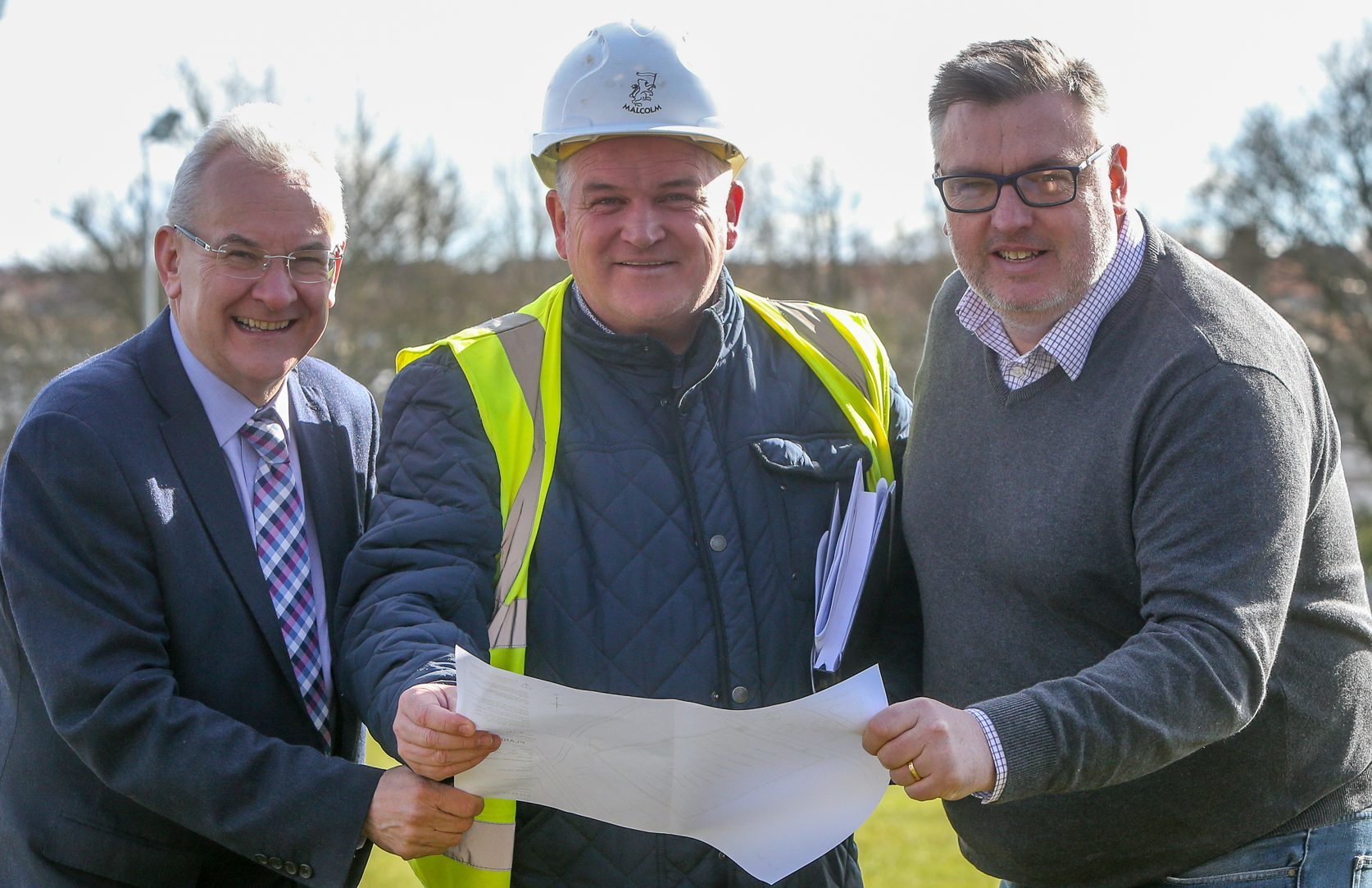 Ed Watson (Fife Sports and Leisure Trust), Robert Muir (from contractor WH Malcolm Ltd) and Cllr Mark Hood.