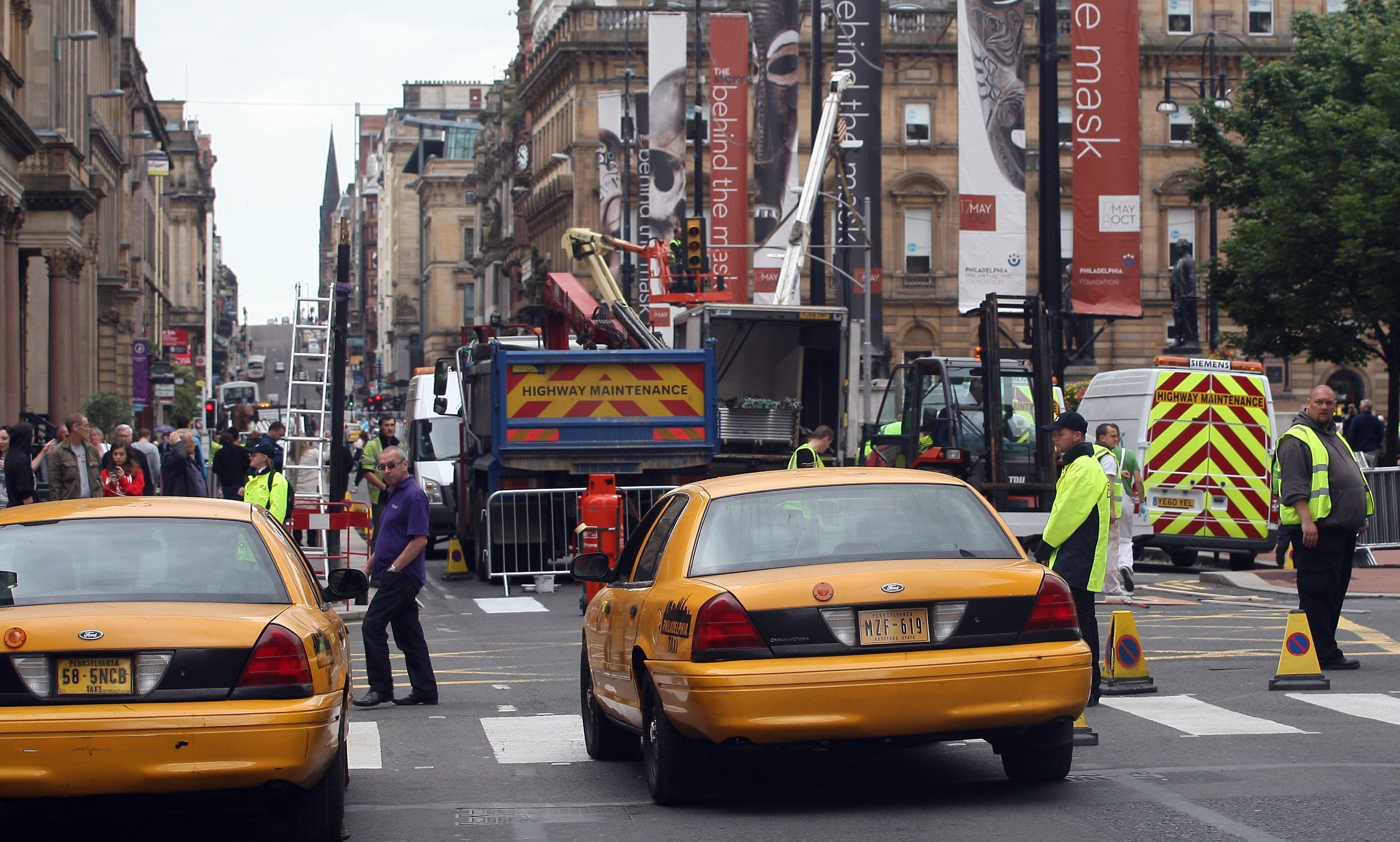American vehicles in preparation for the filming of World War Z in George Square, Glasgow — it is hoped more films could soon be shot in Scotland..