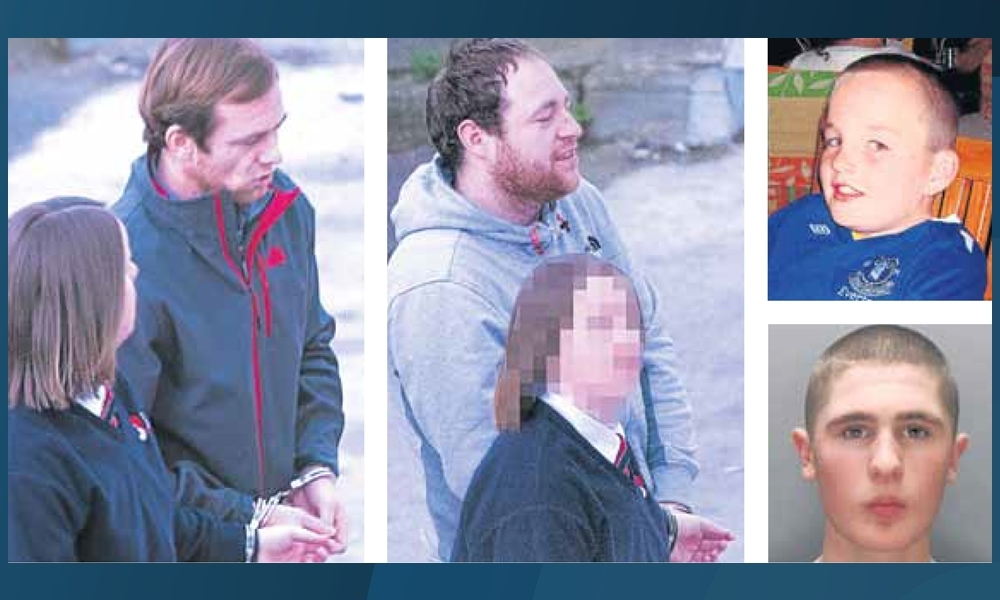 Yates, left, and Kelly were charged with drug dealing offences in Dundee. They were part of the gang which covered up the killing of Rhys Jones, top right, by Sean Mercer, above right, in 2007.