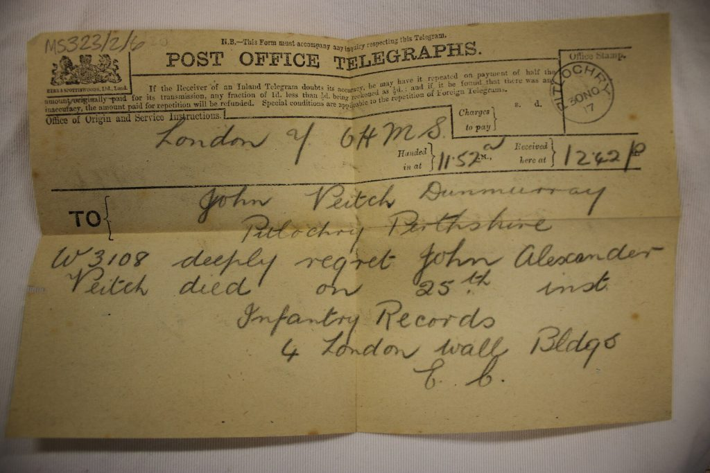 A telegram breaks the bad news to Mr Veitch's family in Pitlochry.