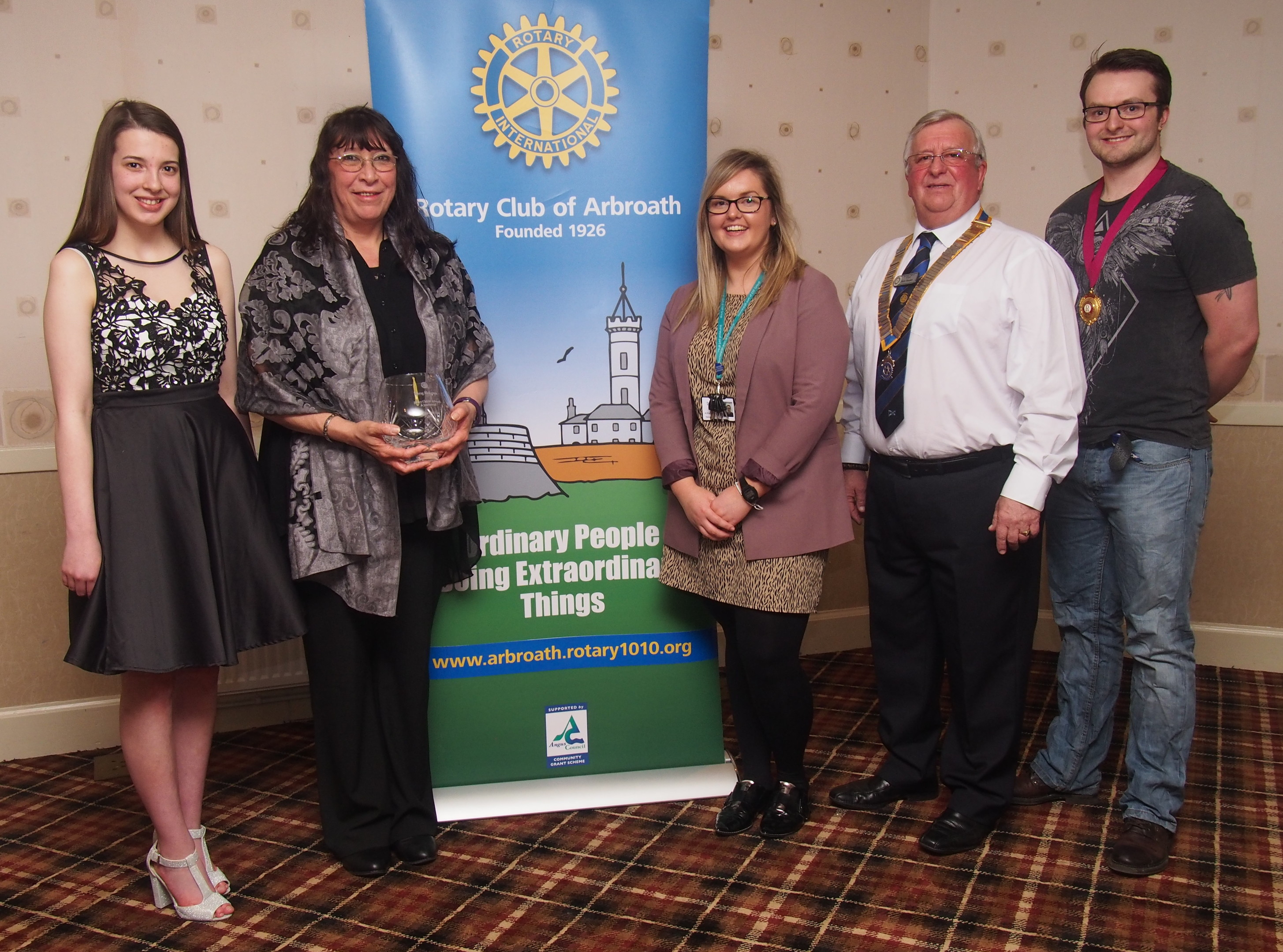From left — Dionne Geddes, Morag McKenzie, Kerri Price, President Harry Simpson, and Mike Phillips