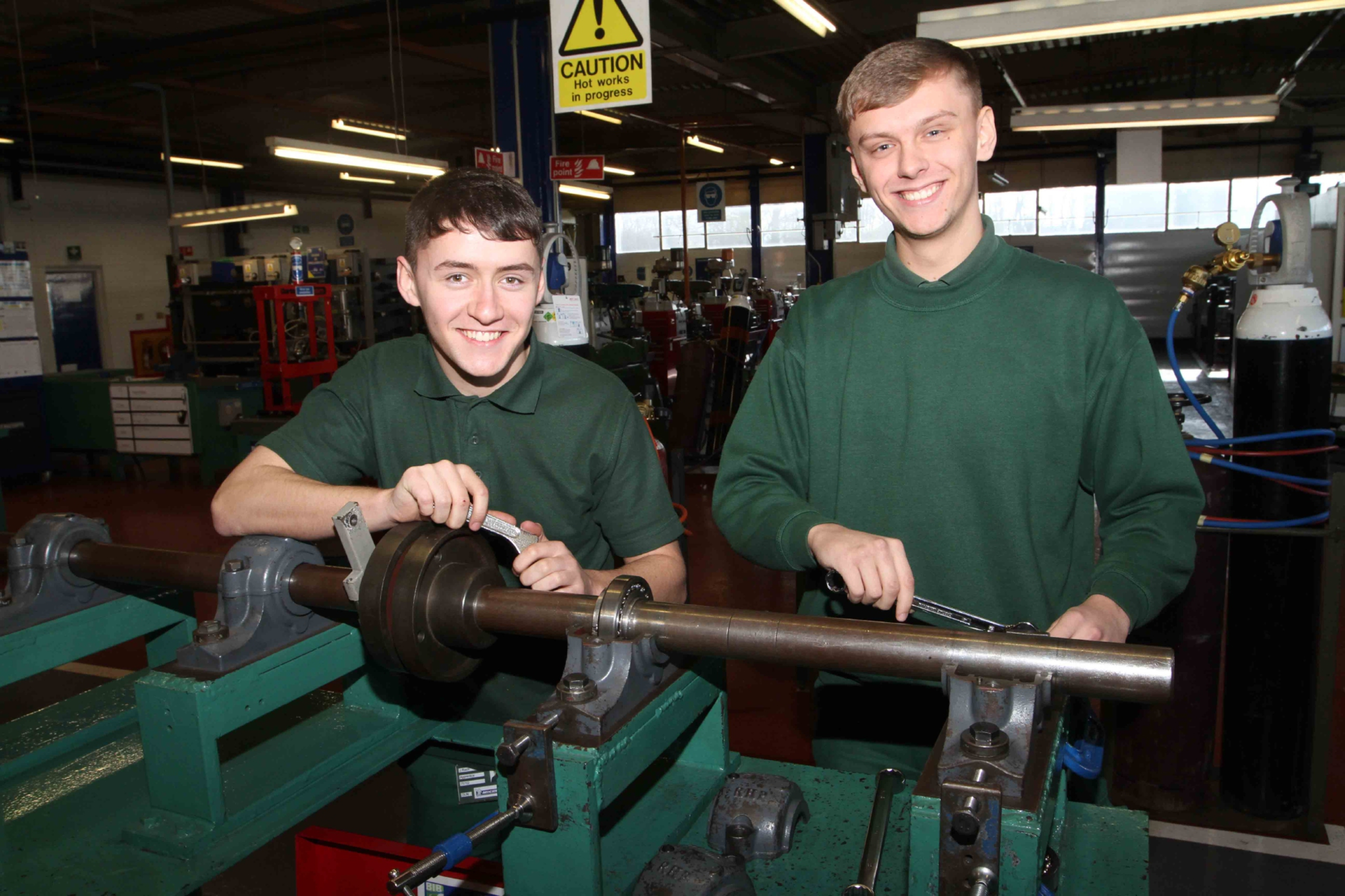 Michelin apprentices Jamie Riach and Daine Fyfe at the firm's training school.