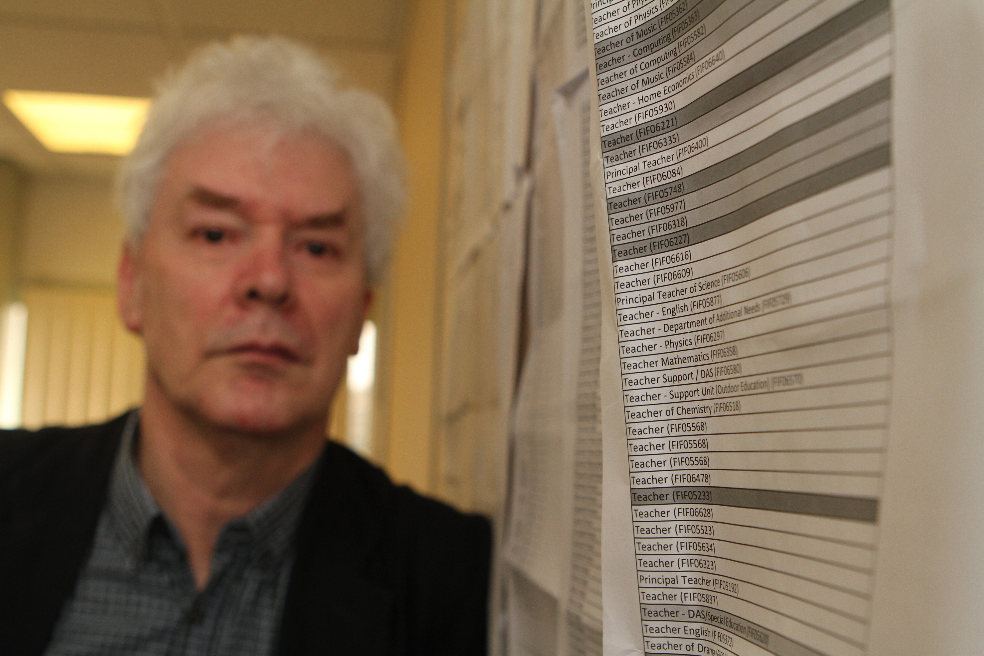 Councillor Bryan Poole, Fife's education spokesperson, has a long list of schools with vacancies across Fife.