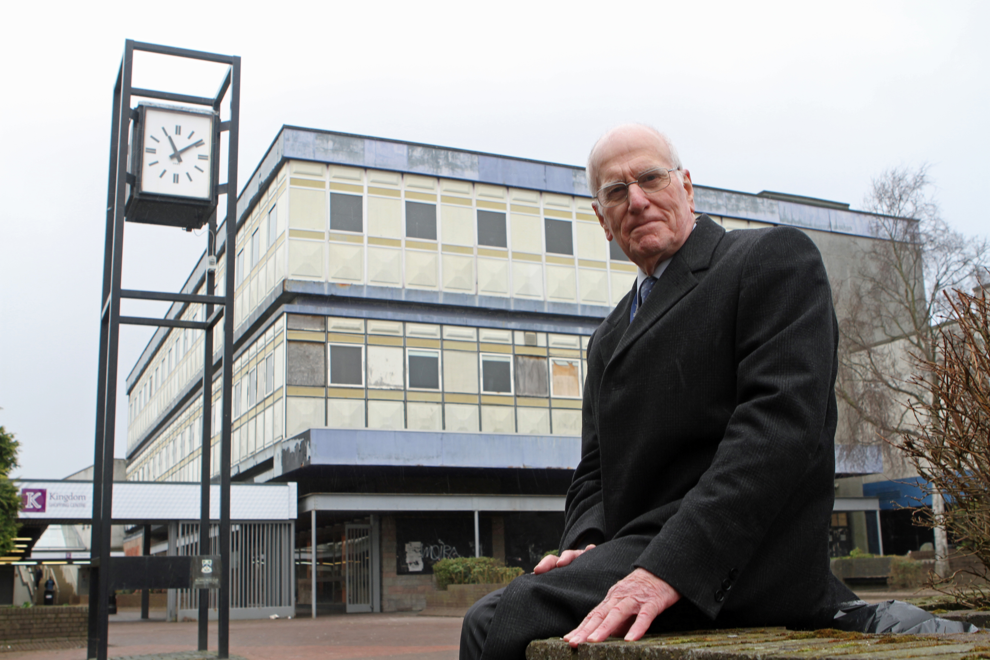 Councillor Ross Vettraino outside the former Co-op building in the town centre.