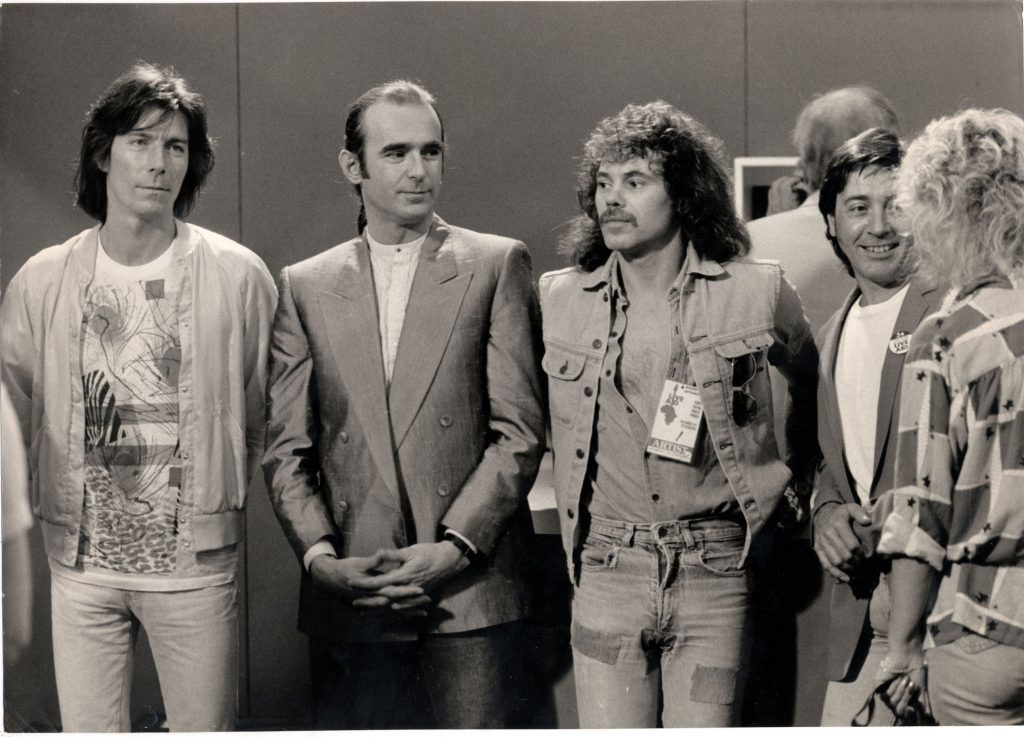 Pete Kircher (far right) with the Quo at Live Aid