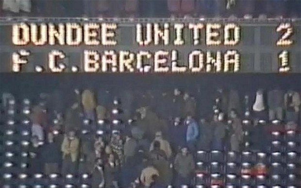 The score board after Dundee United beat Barcelona 2-1 at the Nou Camp