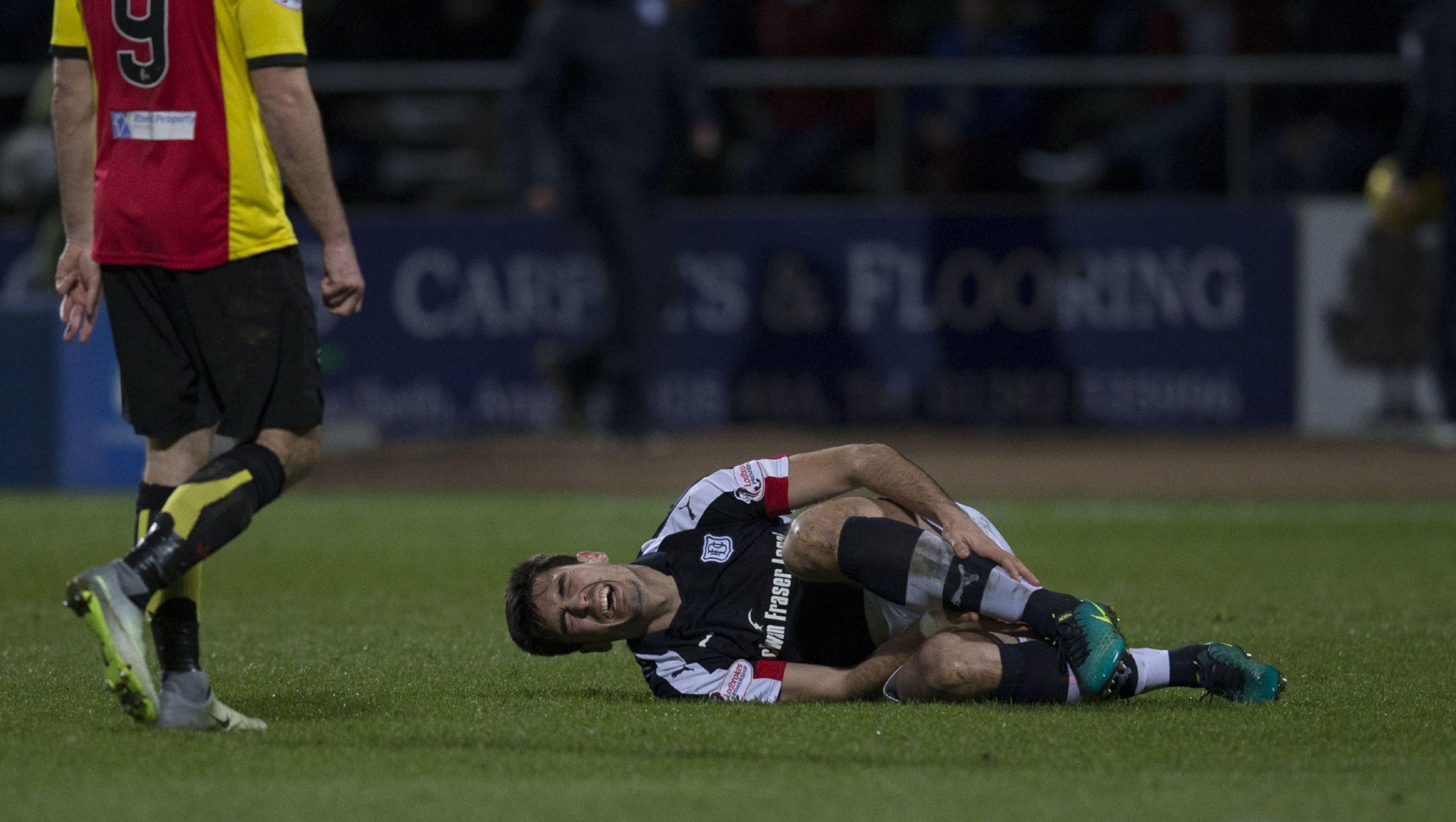 Julen Etxabeguren goes to ground after suffering injury.