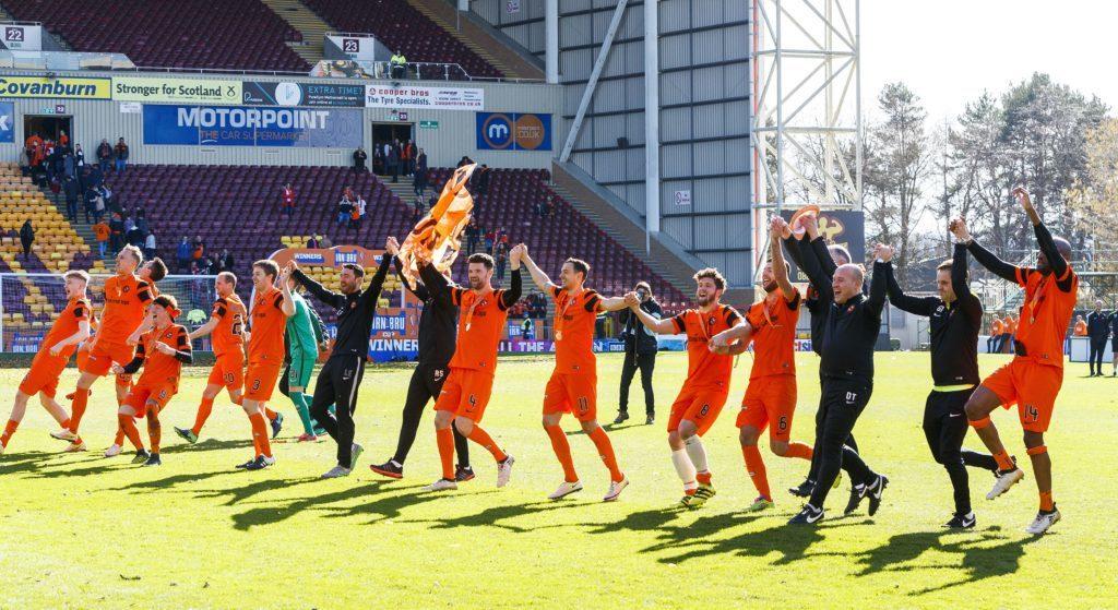 25/03/17 IRN-BRU CUP FINAL DUNDEE UTD v ST MIRREN FIR PARK - MOTHERWELL The Dundee Utd players celebrate at full-time