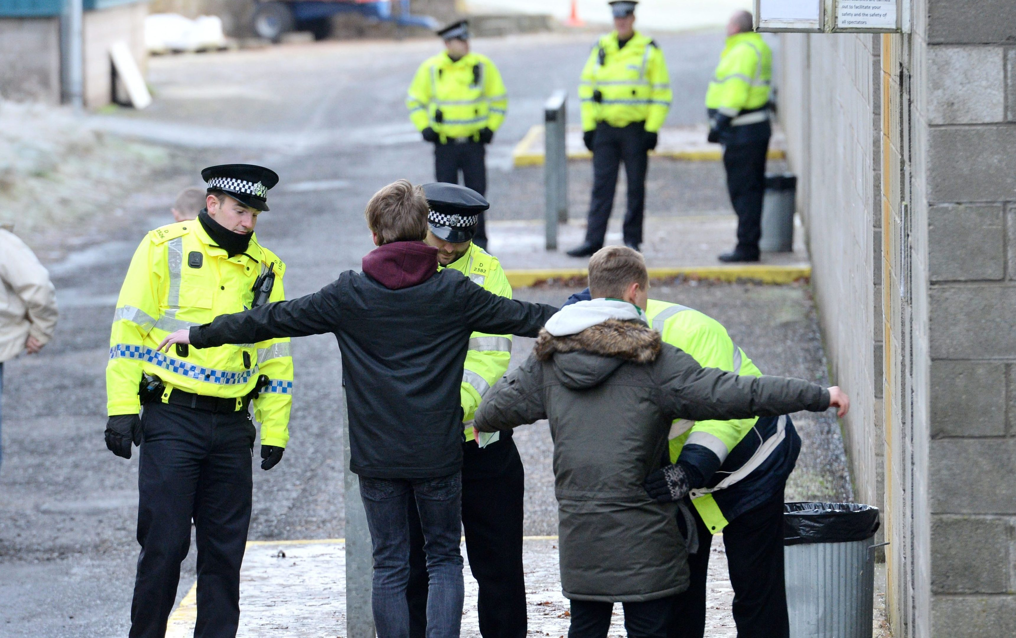 Fans are searched as they enter McDiarmid Park.