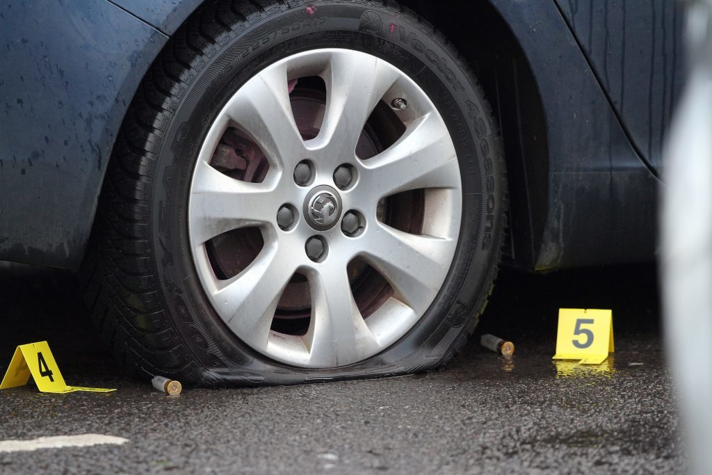 The tyres were deflated with specialist ammunition.