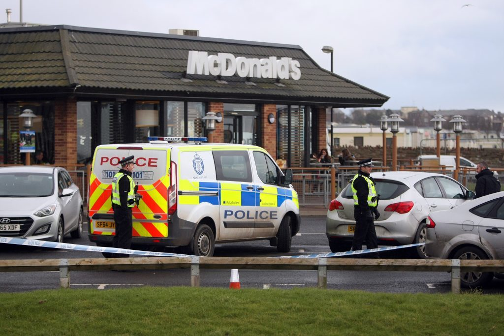 McDonald's Arbroath where five men were detained in connection with an ATM raid in Carnoustie.