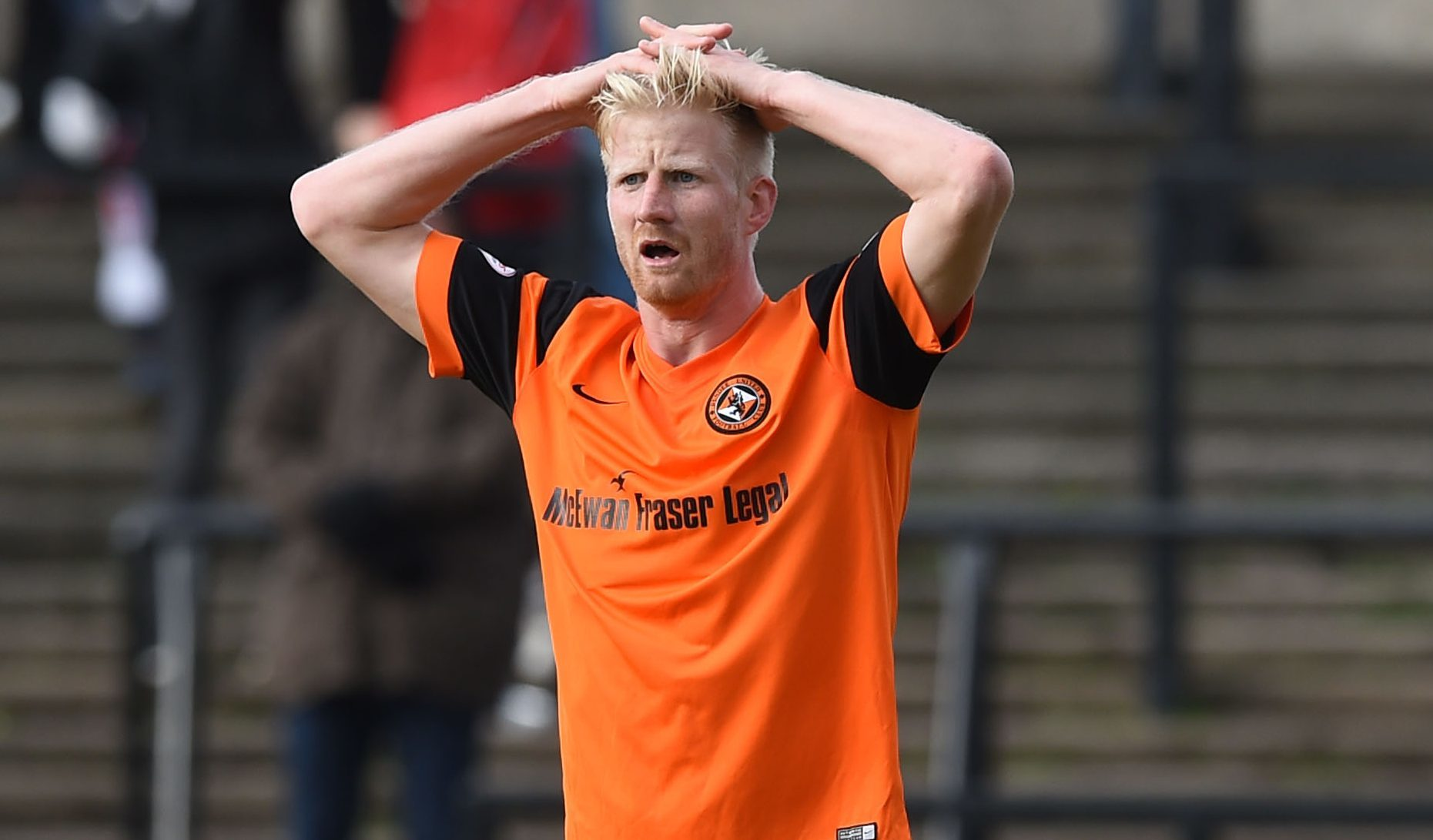 Dundee United's Thomas Mikkelsen is frustrated as his goal is disallowed