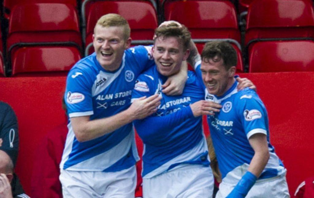 St Johnstone's Craig Thomson celebrates his goal at Aberdeen.