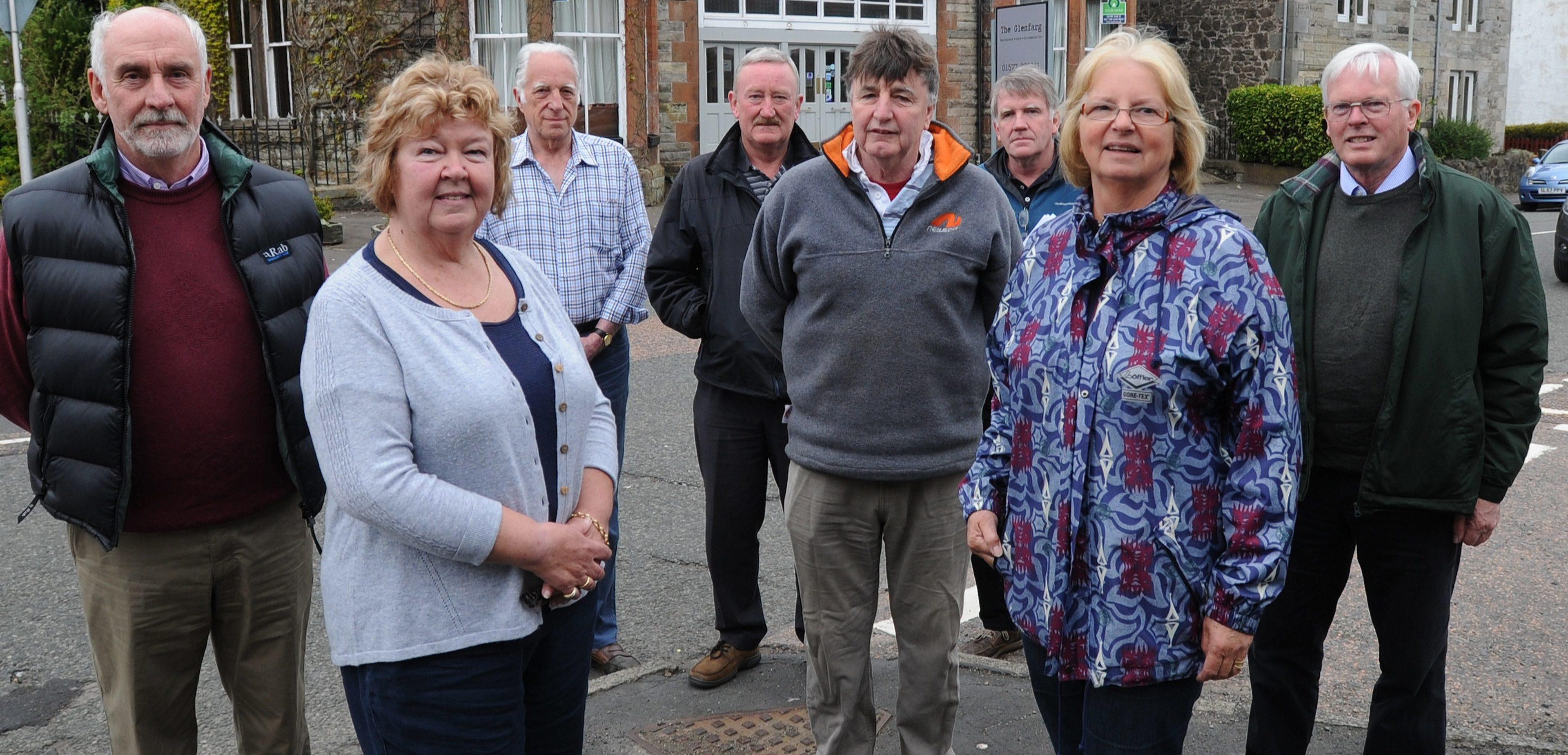 Members of the Glenfarg Community Company pictured beside the Glenfarg Hotel.