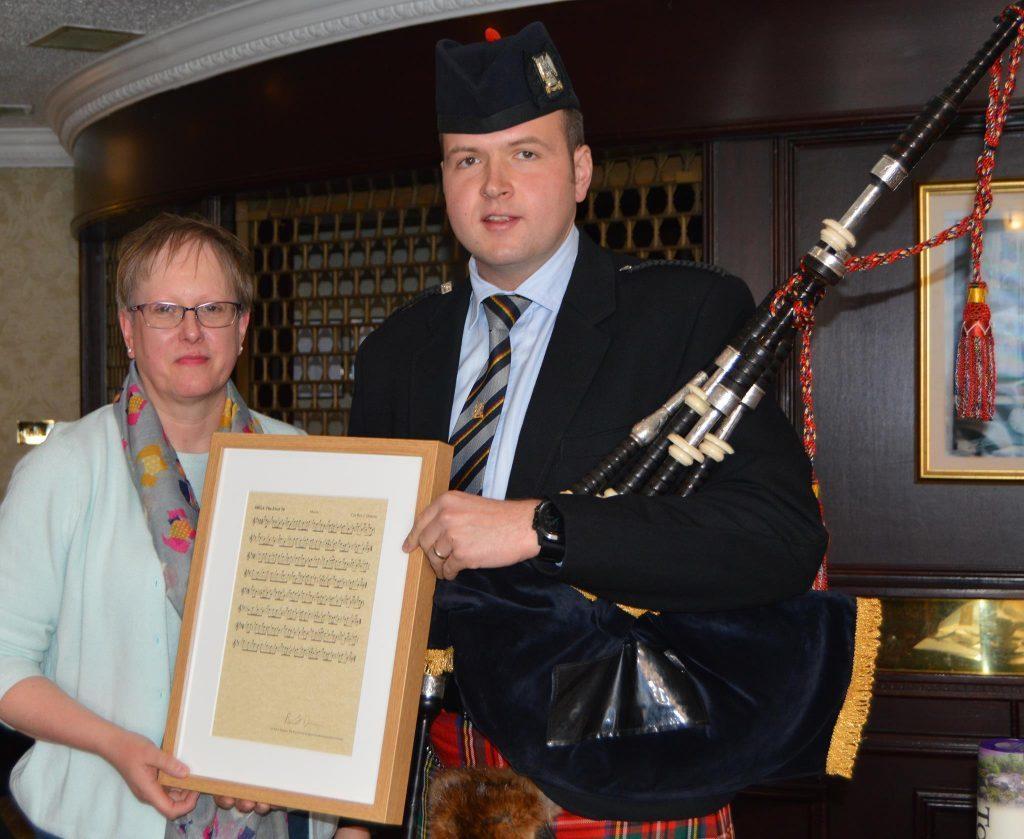 Corporal Ben Duncan and Jennifer Stewart of the Lonach Highland Gathering