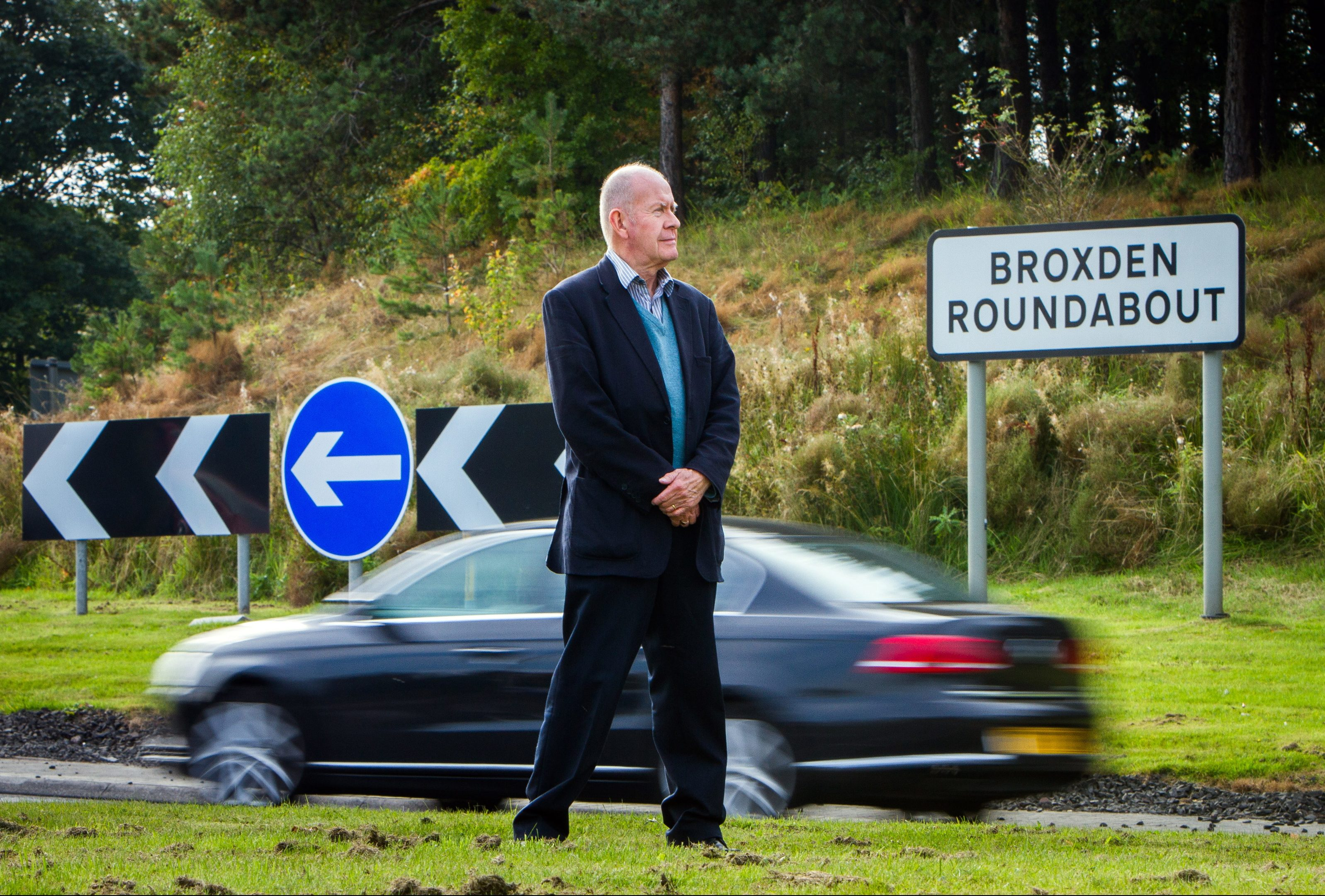 Councillor Willie Wilson at Broxden roundabout.