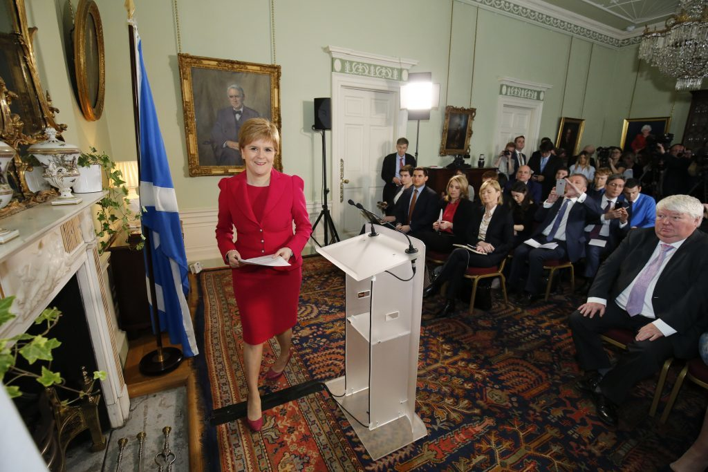 Nicola Sturgeon at her Bute House press conference announcing her plans to hold a second independence referendum. It is the only press conference she has held this year despite a pledge to have monthly events.