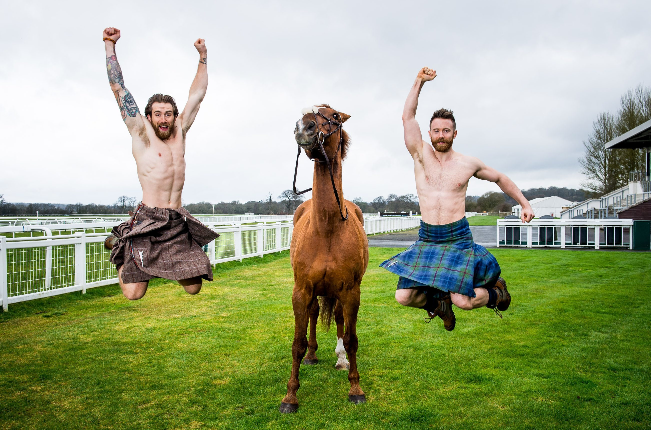 The Kilted Yogis at Perth Racecourse, Tristan Cameron Harper, left, and Finlay Thomas Wilson.   photographer Fraser Band     07984 163 256 www.fraserband.co.uk