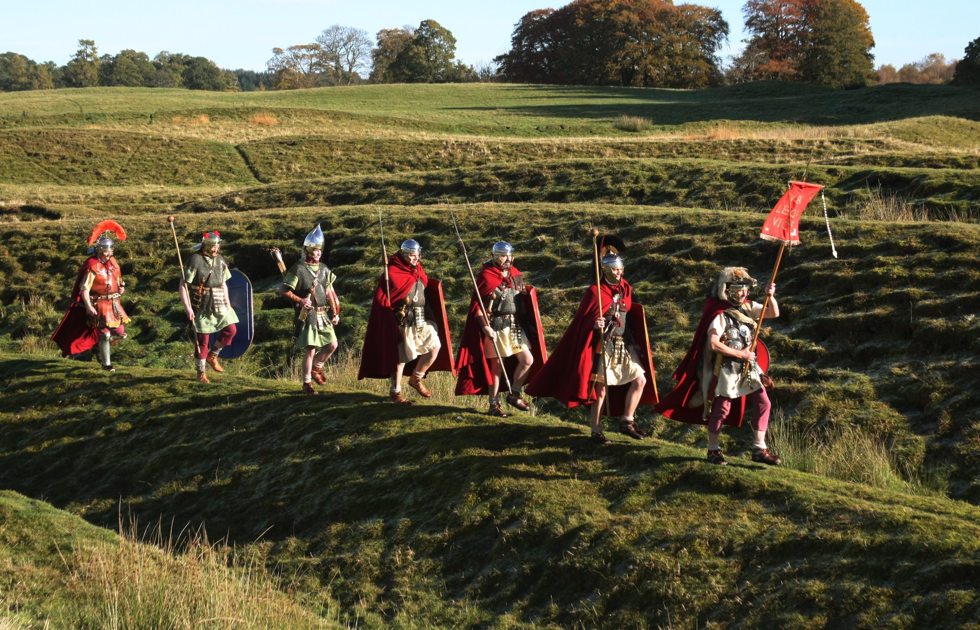 Members of the Antonine Guard who celebrate Scotland's Roman past at Ardoch fort, Braco.