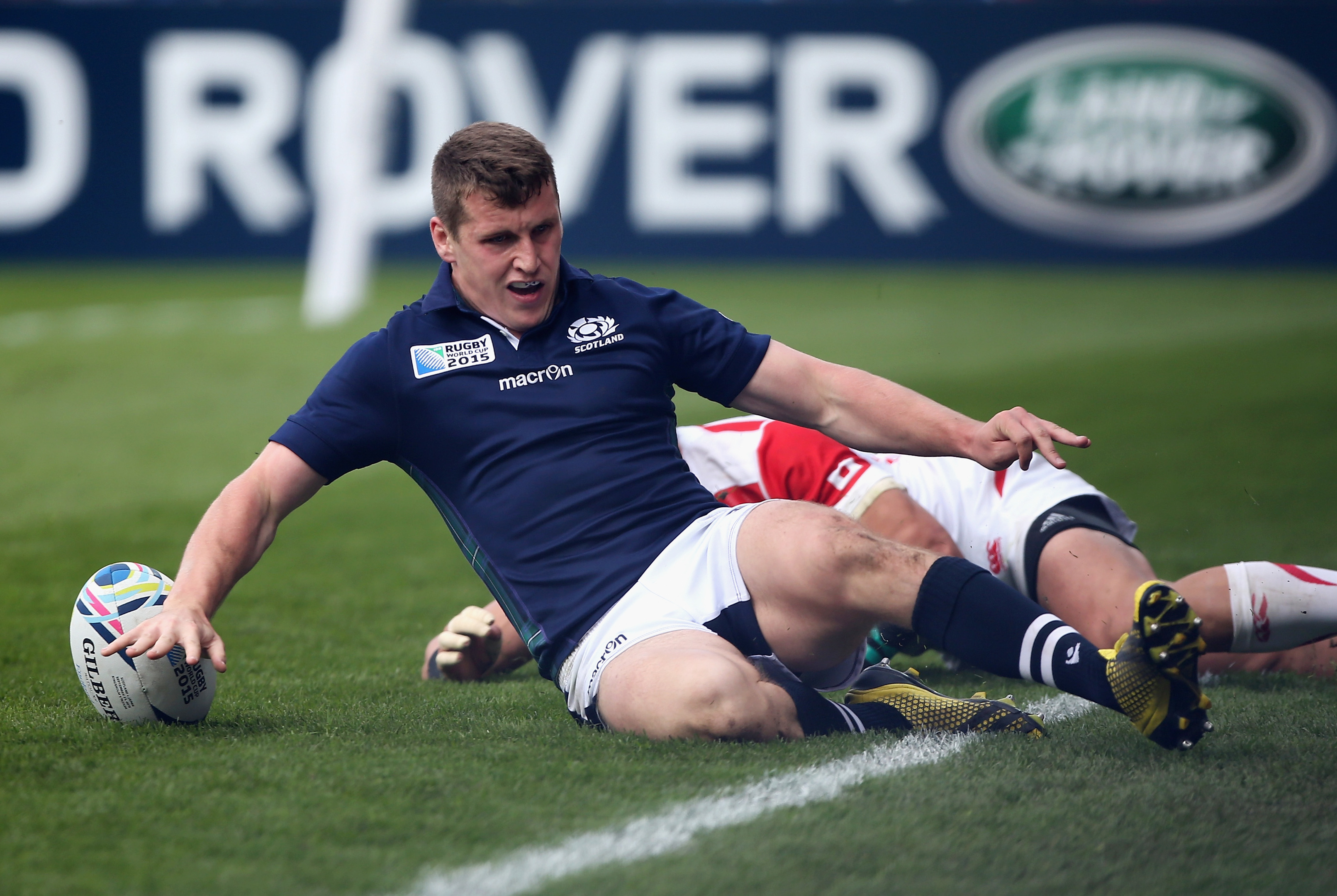 Mark Bennett scoring against Japan in the 2015 World Cup, one his six tries for Scotland.
