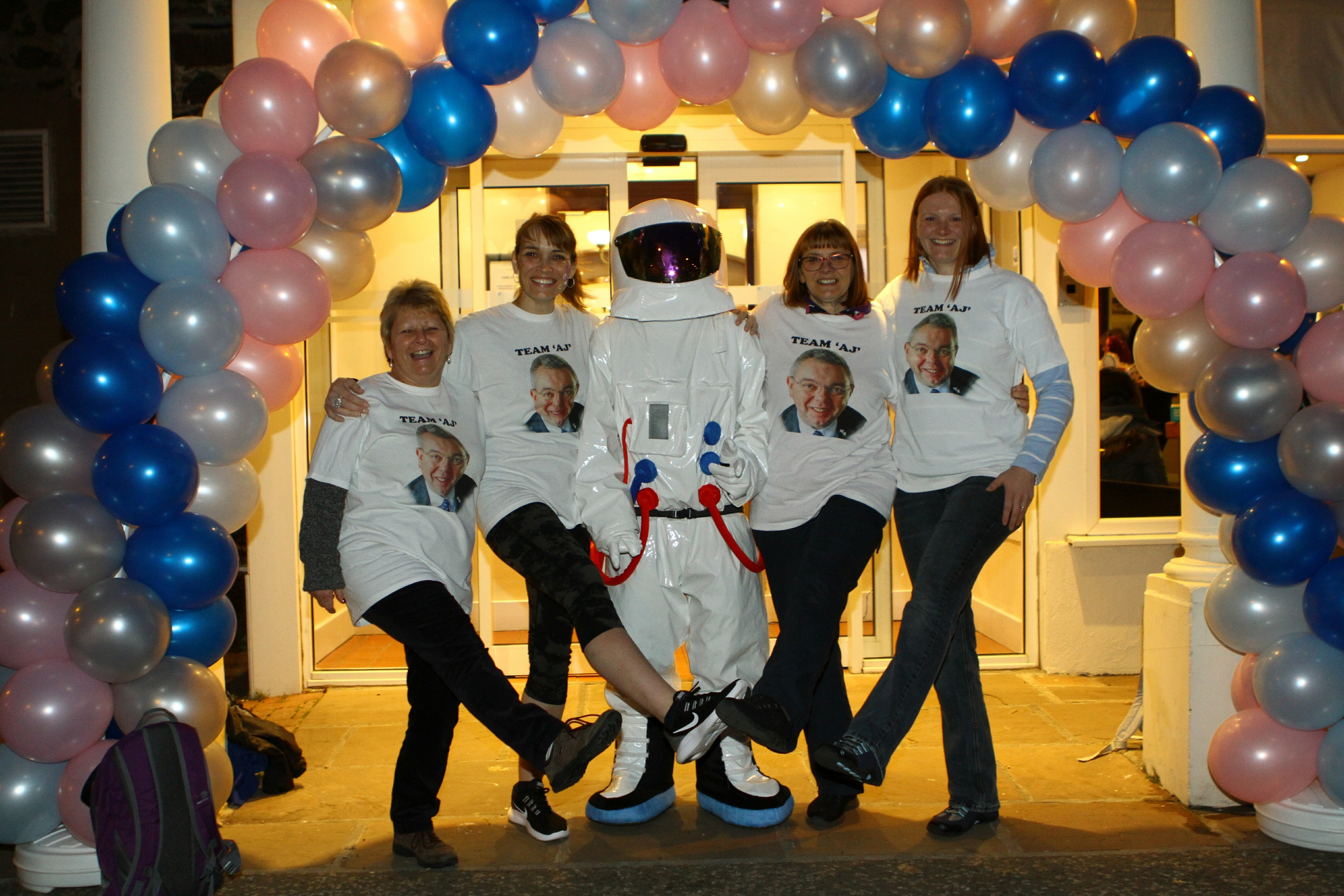 Team AJ from left — Shirley Burnett, Karen Anderson, spaceman Jamie Docherty, Linda Johnstone, and her daughter Christine Watson.