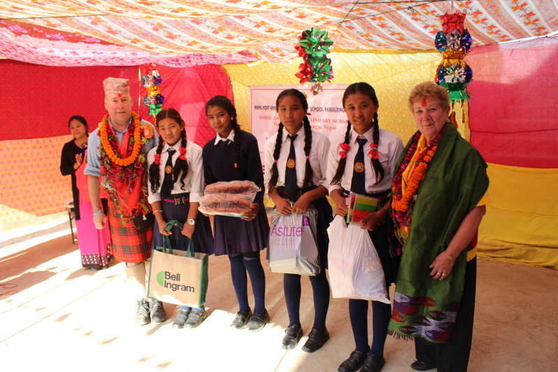 Rotary visitors with some of the school pupils