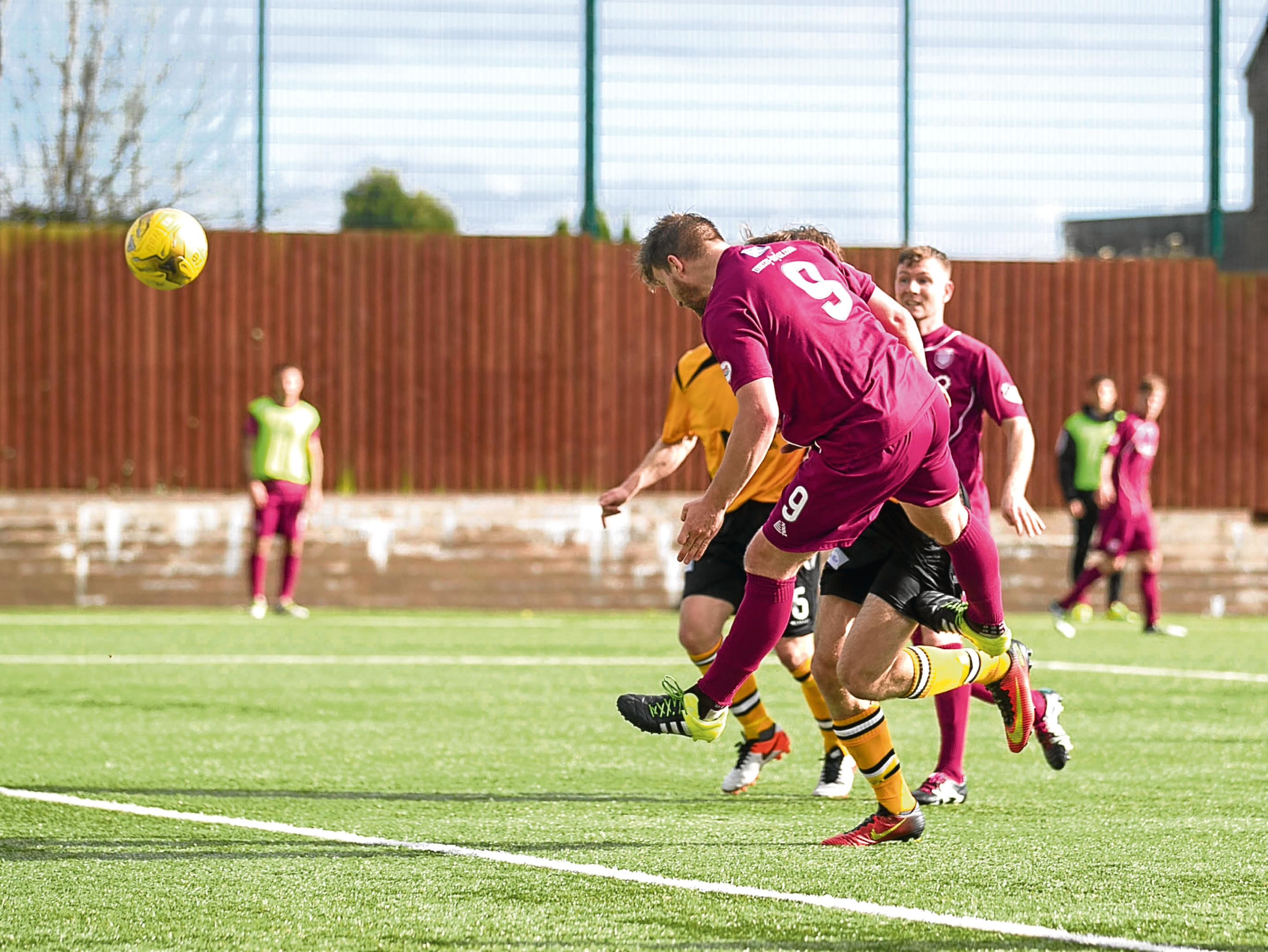 Steven Doris scores Arbroath's third goal.