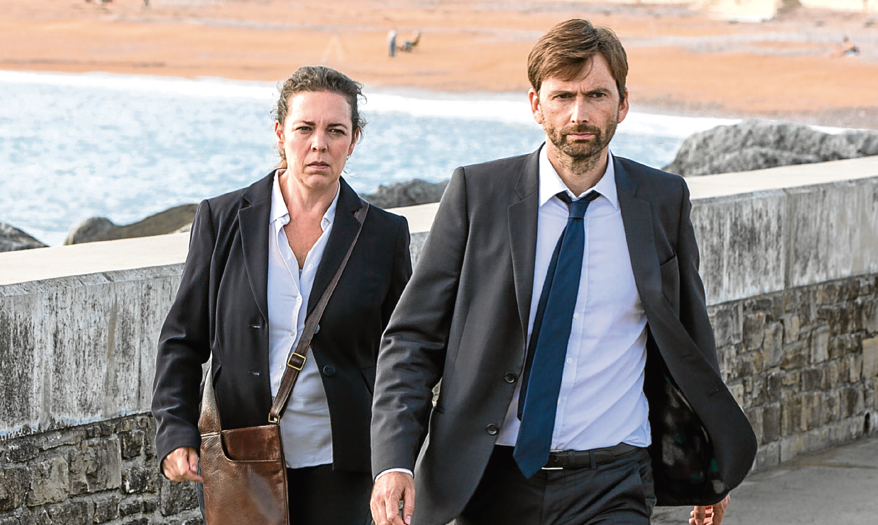Olivia Colman and David Tennant in Broadchurch, which has gripped Lucy and confirmed her fears about living in small communities too.