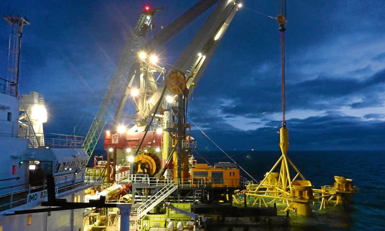 Seaway Heavy Liftin's Stanislav Yudin vessel installs the first cluster of foundation piles for the Beatrice array