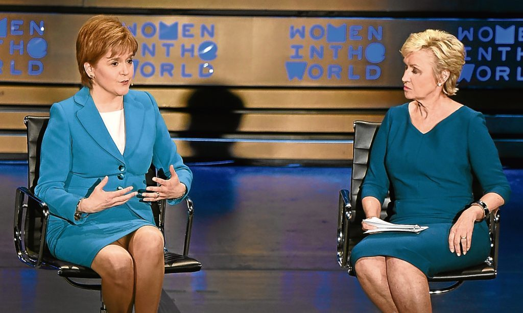 Nicola Sturgeon and journalist Tina Brown speak during the Women In The World Summit at the Lincoln Center, New York. Jenny wonders if the First Minister would be  better off spending time in England instead of the USA.