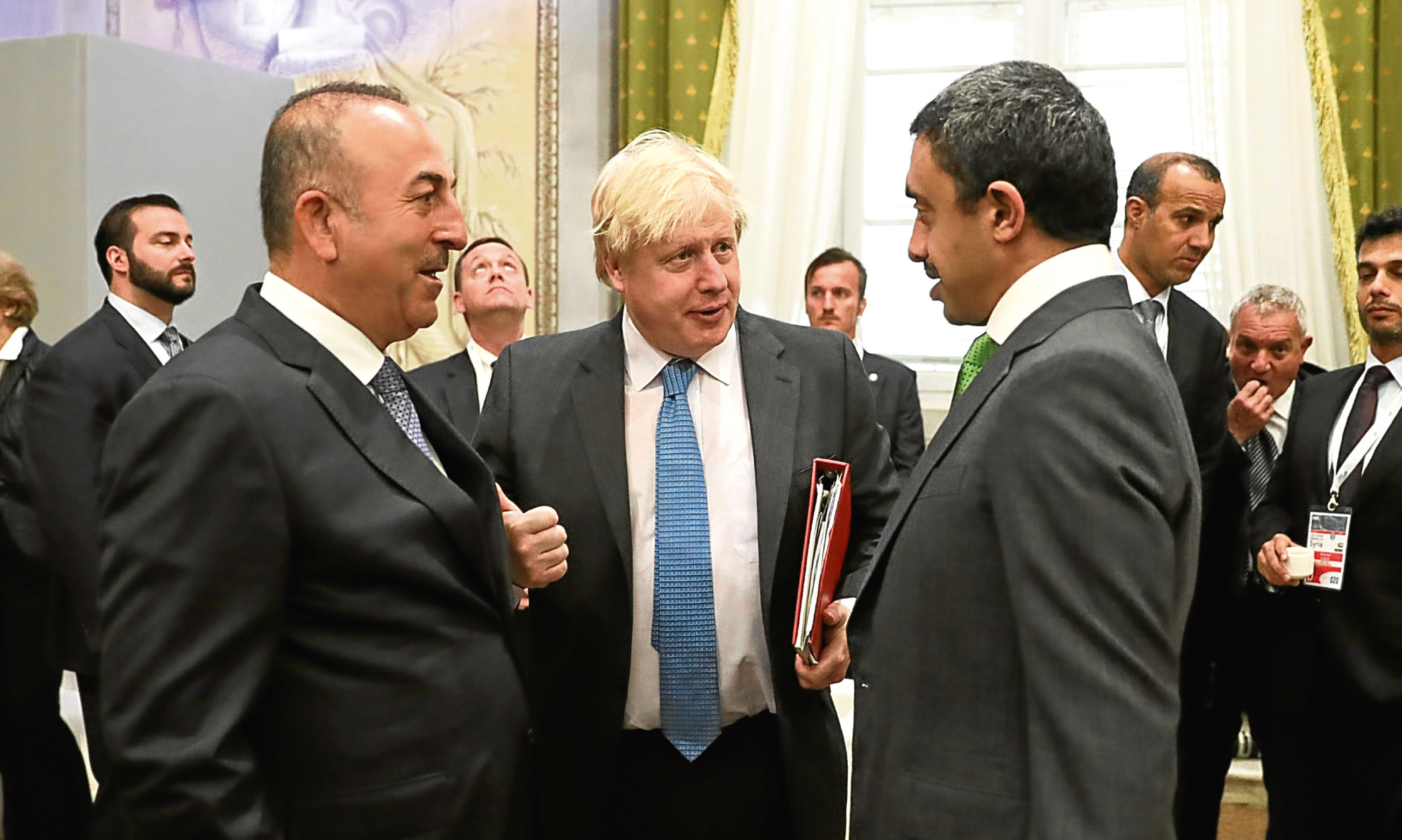 Boris Johnson, centre, at the G7 Ministers of Foreign Affairs meeting in Italy, where he failed to get agreement over sanctions for Russia.