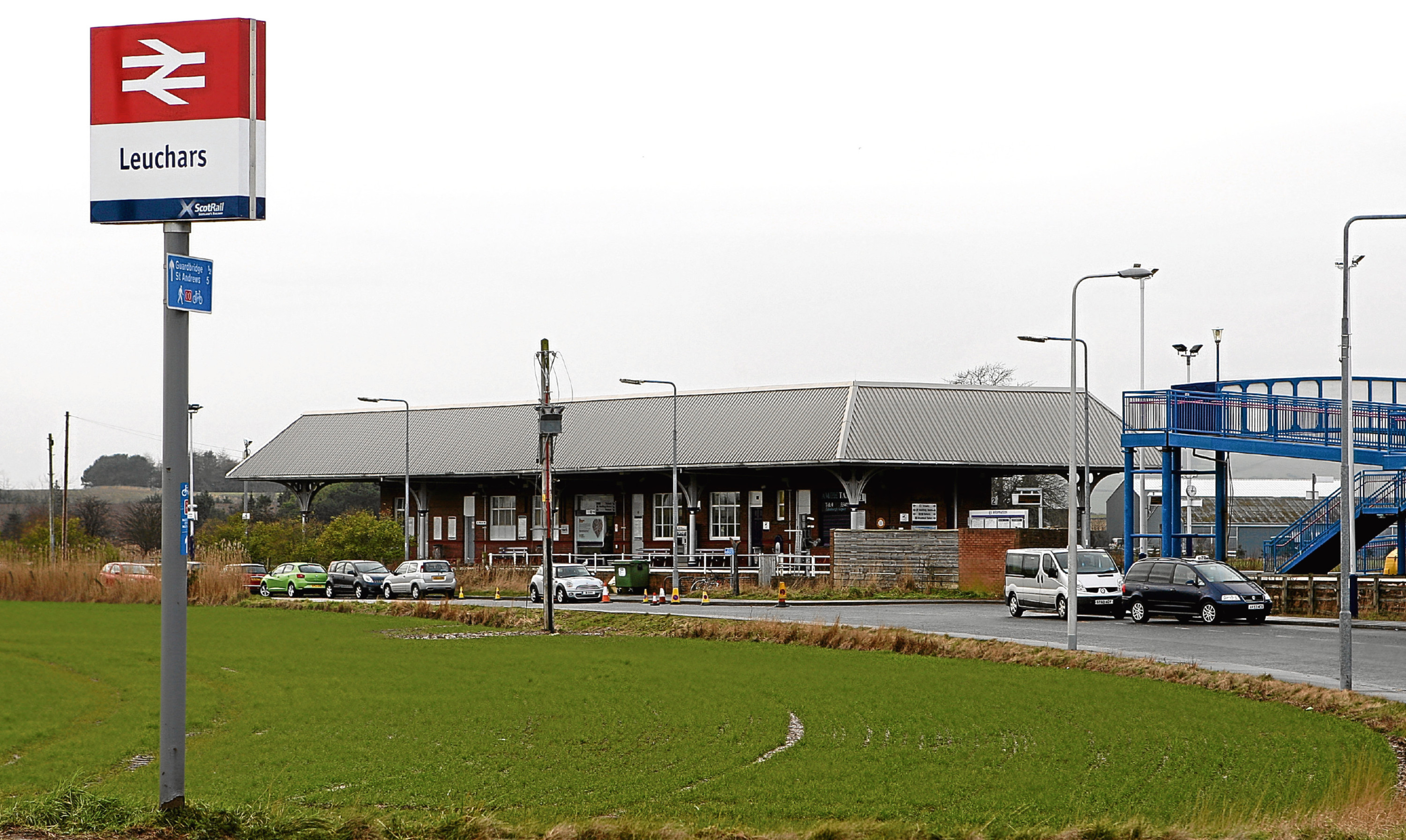 Leuchars railway station with the pedestrian ramps at the right of the photograph.