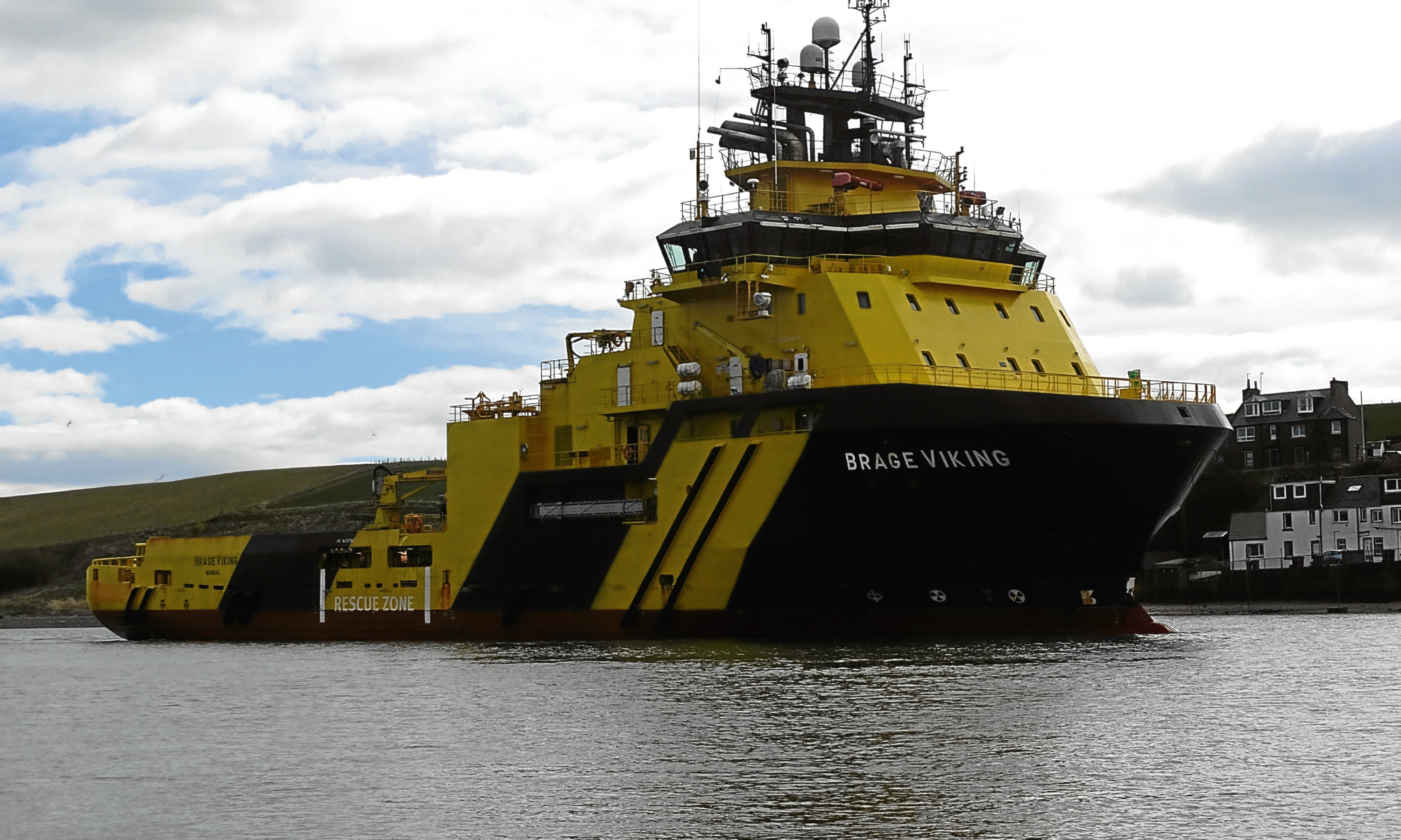The Brage Viking about to enter Montrose Port. The port authority hopes new quayside upgrades will attract more vessels into the harbour.