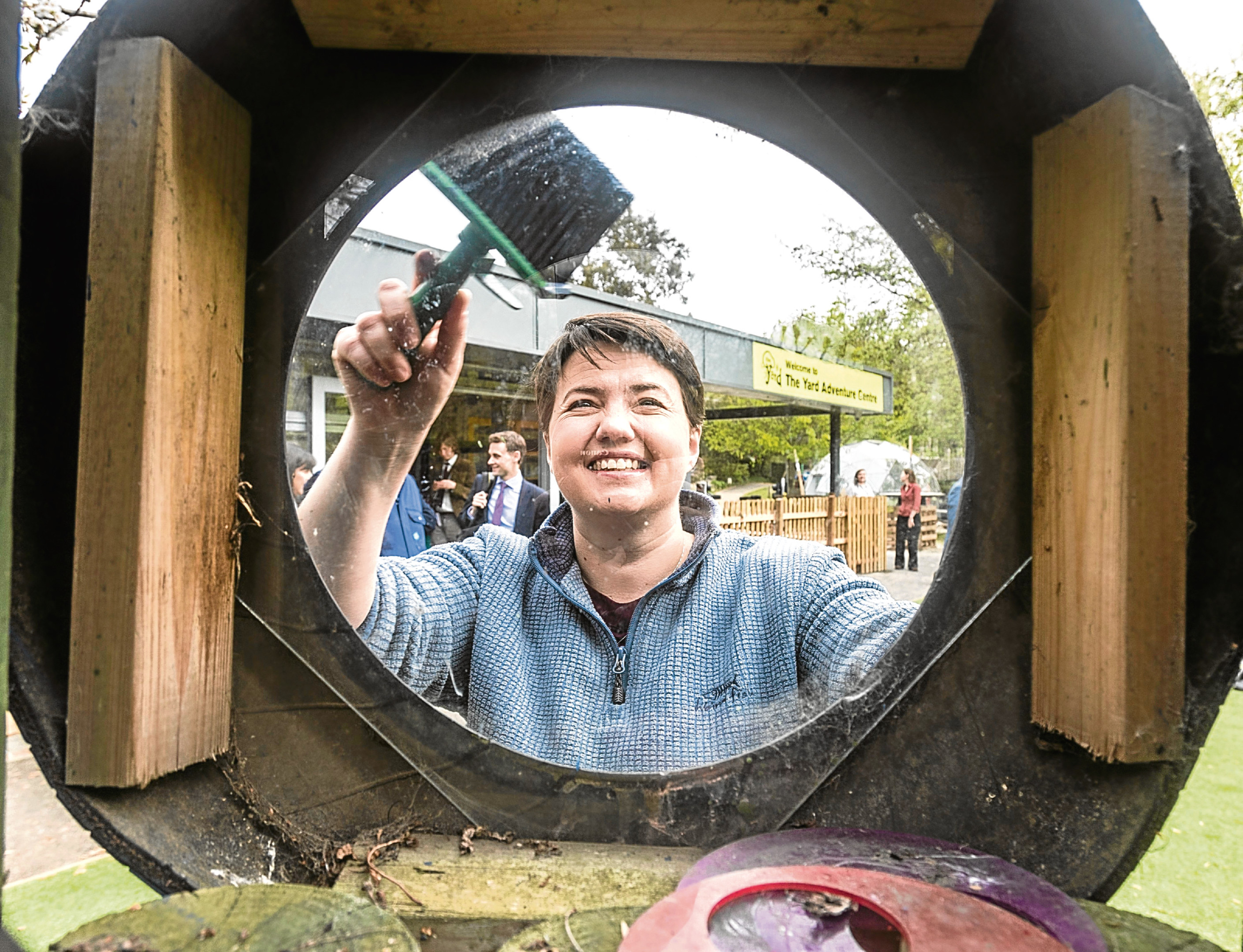 Ruth Davidson at a community playground during the launch of the Conservative Party manifesto