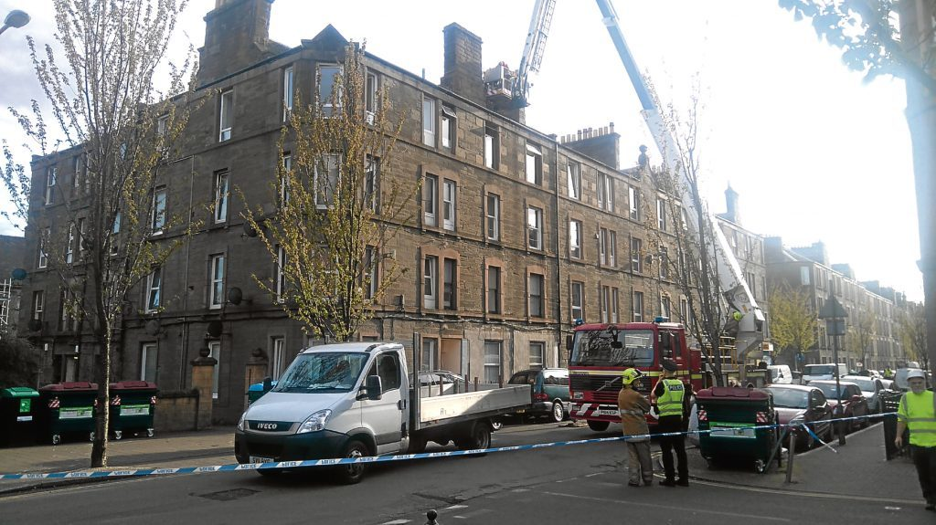 Firefighters had to rescue a man from the burning flat.