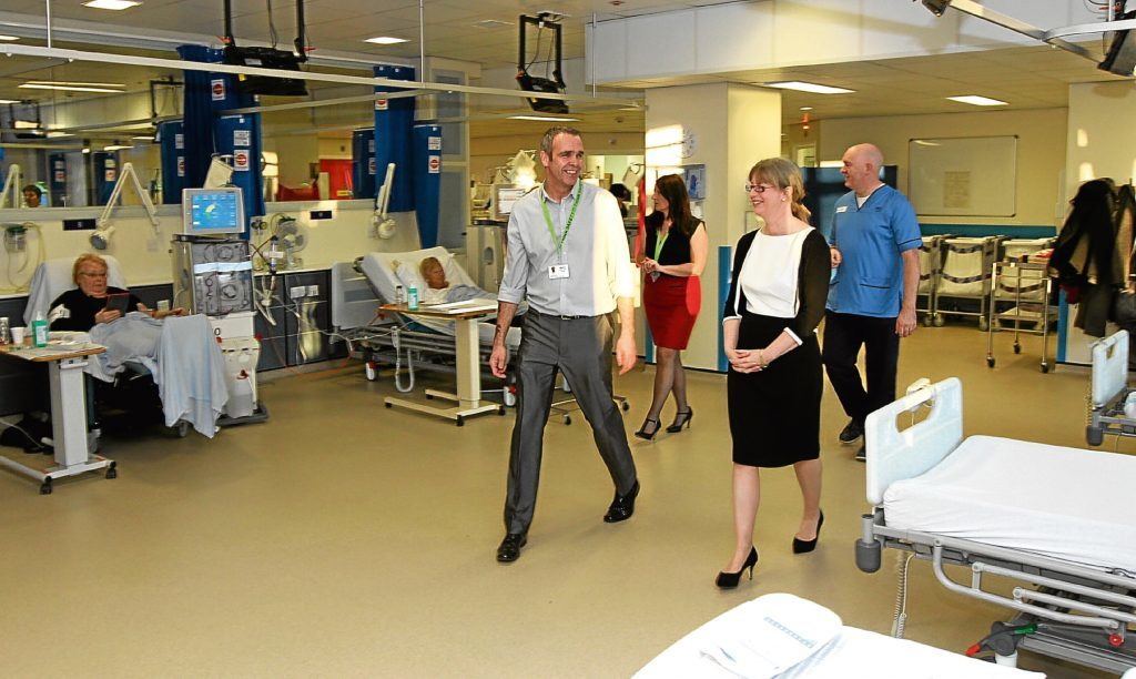 Health minister Shona Robison is shown around Ninewells Hospital in Dundee. Alex wants us to demand proper spending from all parties on our NHS.
