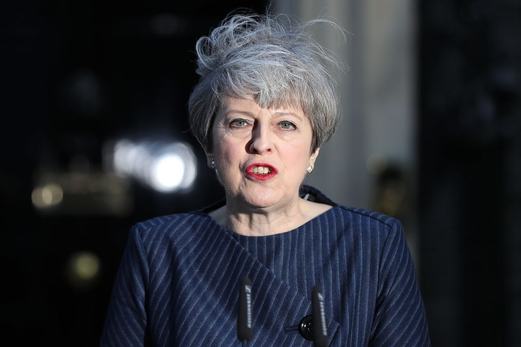 Theresa May outside Number 10 on April 17 calling a snap election.