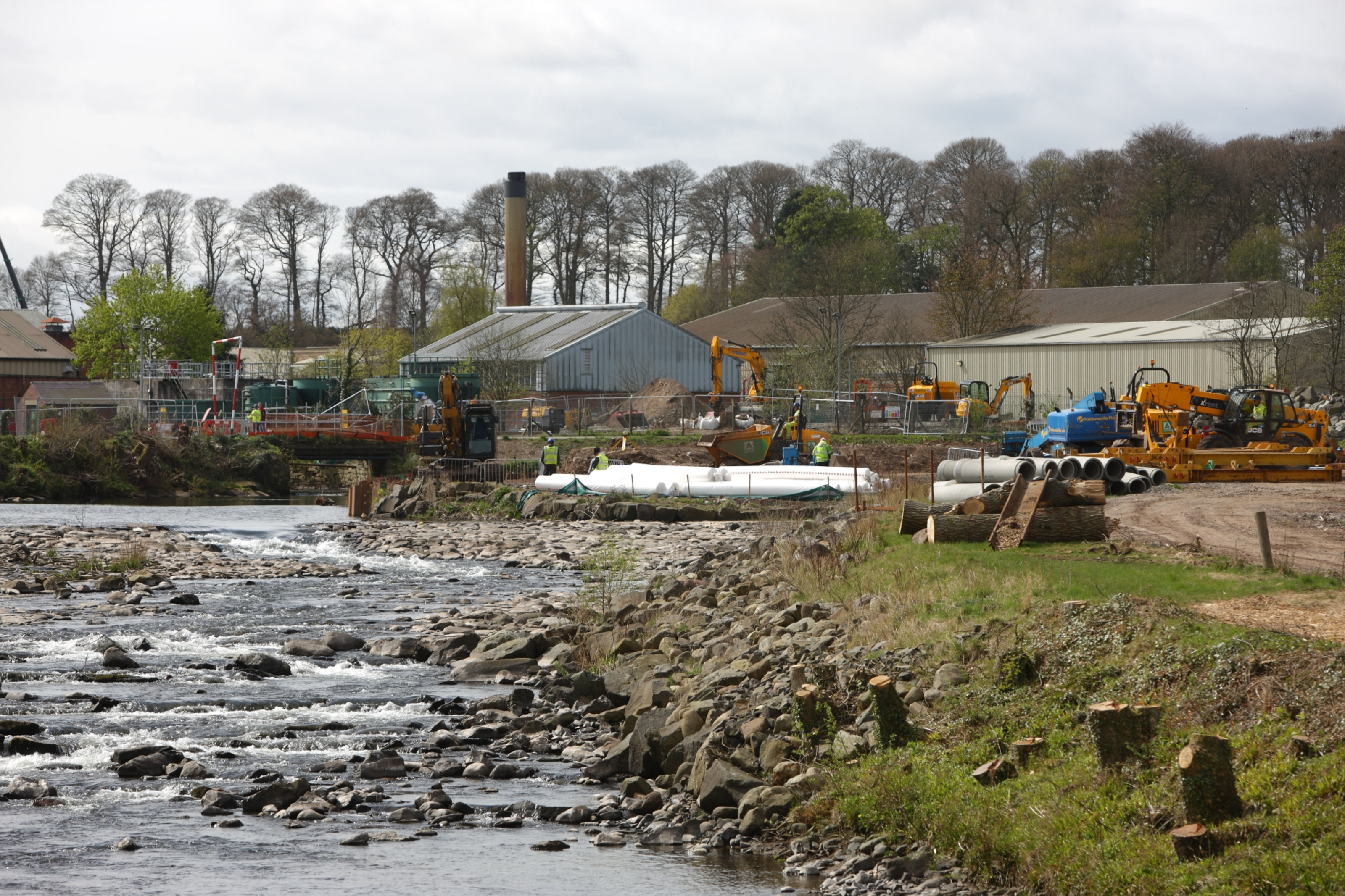 Flood defence works on the River Almond
