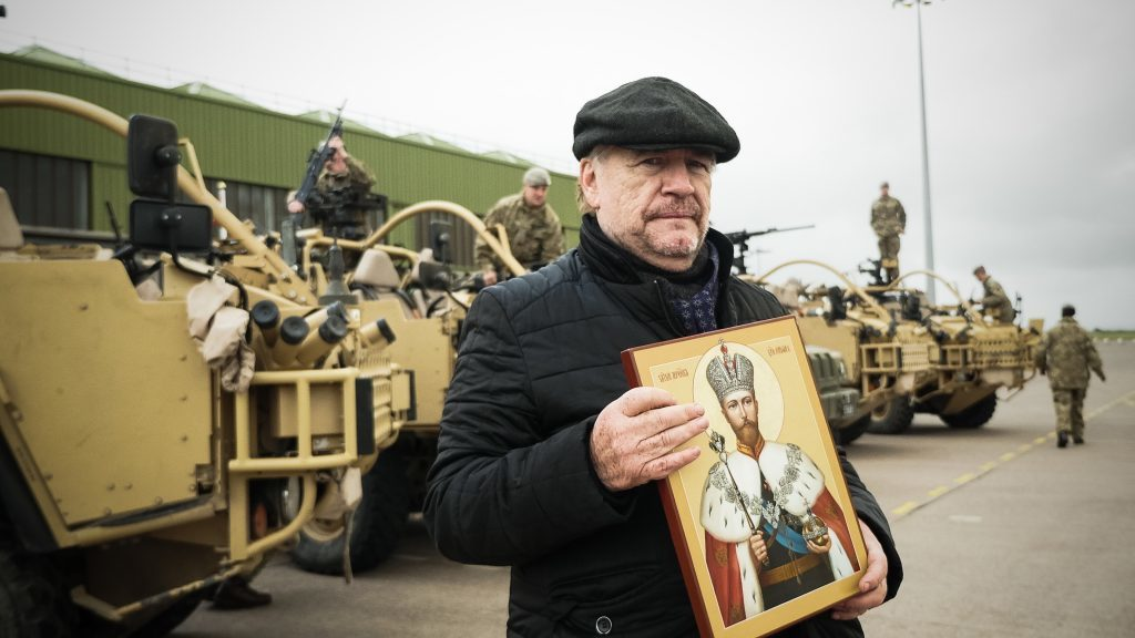 Brian Cox with the icon of Tsar Nicholas II at Leuchars Station army base in Fife