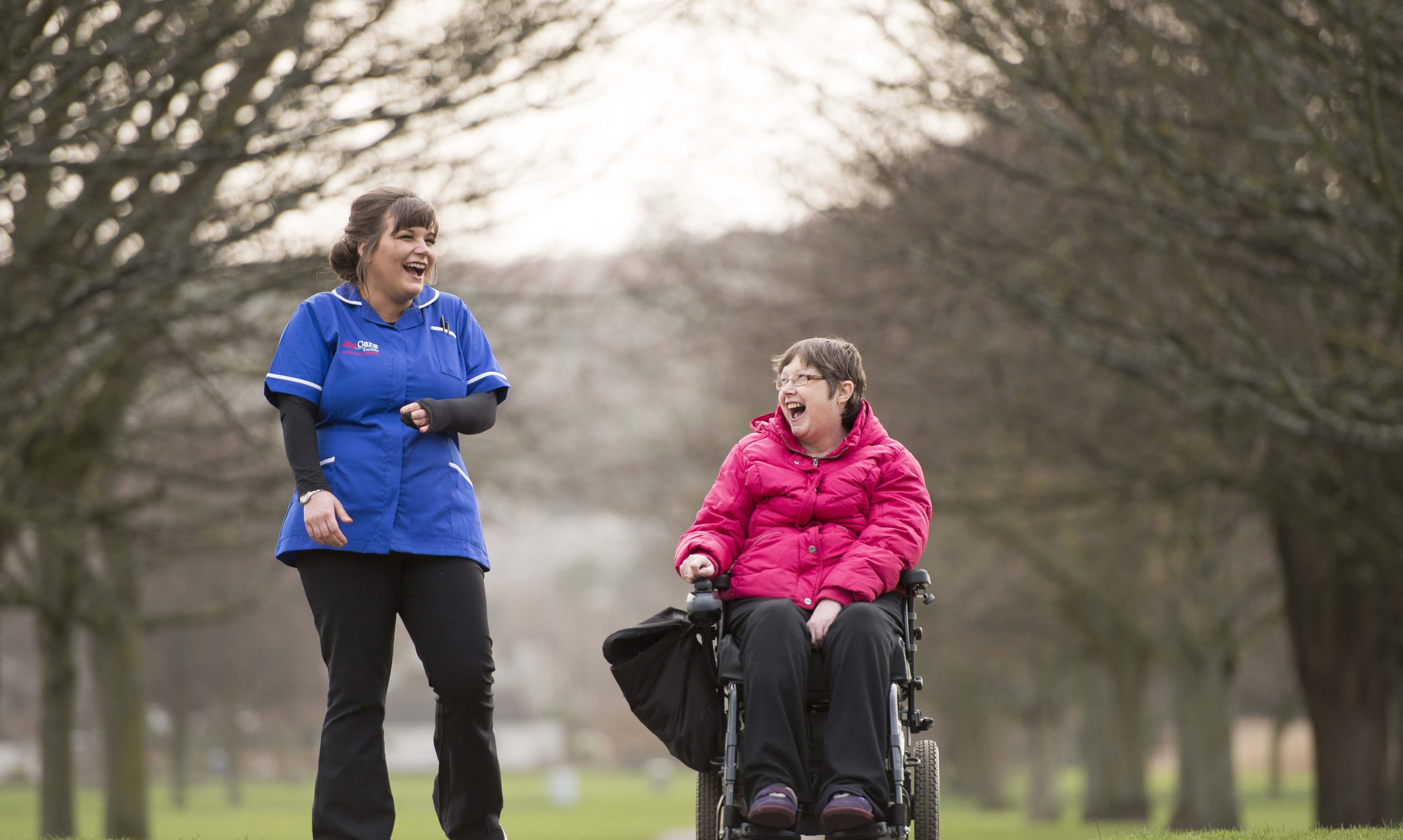 Lyndsay Clark, a senior care assistant with Anne Graham, a service user in Perth.
