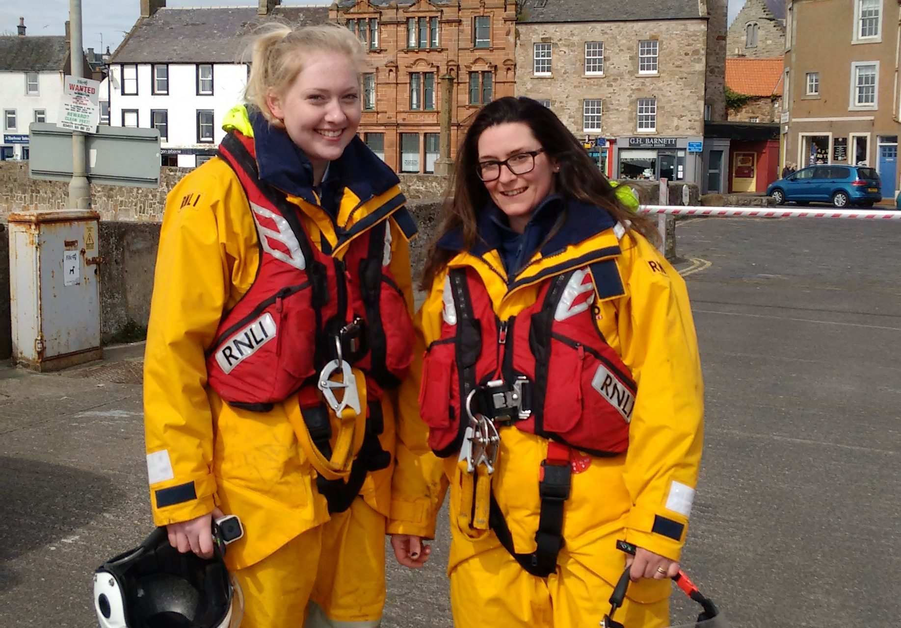 Danielle (left) and Louise (right) after their first shout on Anstruther Lifeboat