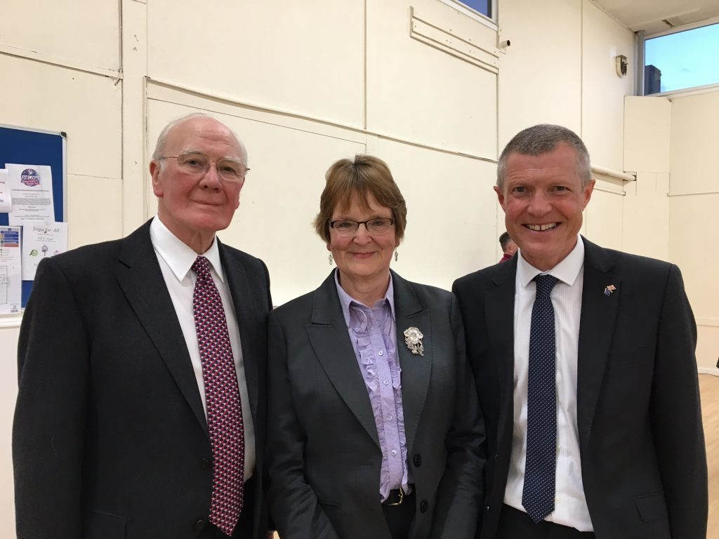 Elizabeth Riches with Scottish Liberal Democrats leader Willie Rennie and former North East Fife MP Sir Menzies Campbell