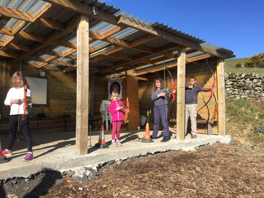 Family archery at Laggan Outdoor Activity Centre.