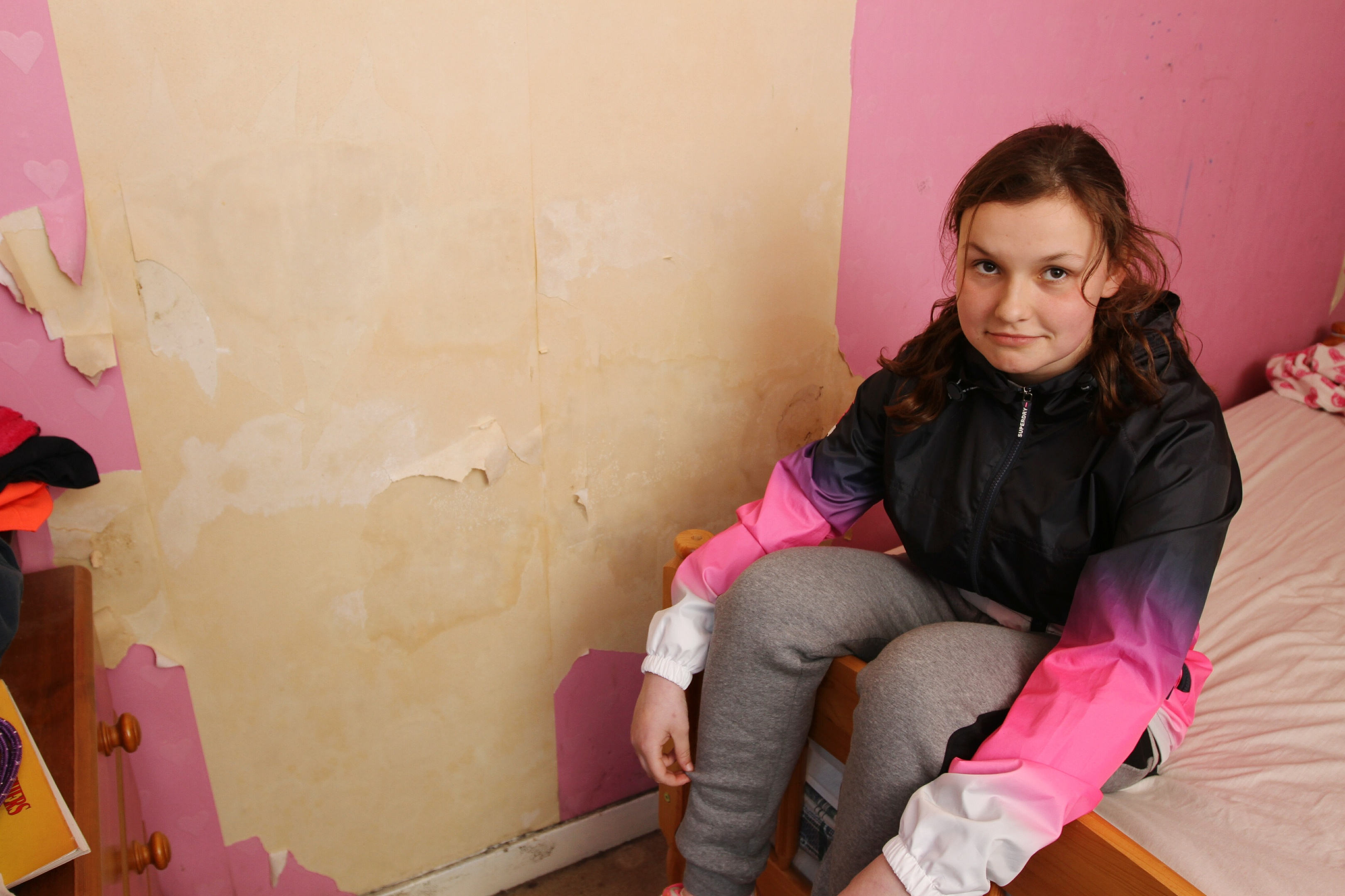The room of Jill's daughter Hannah is the worst affected in the property.