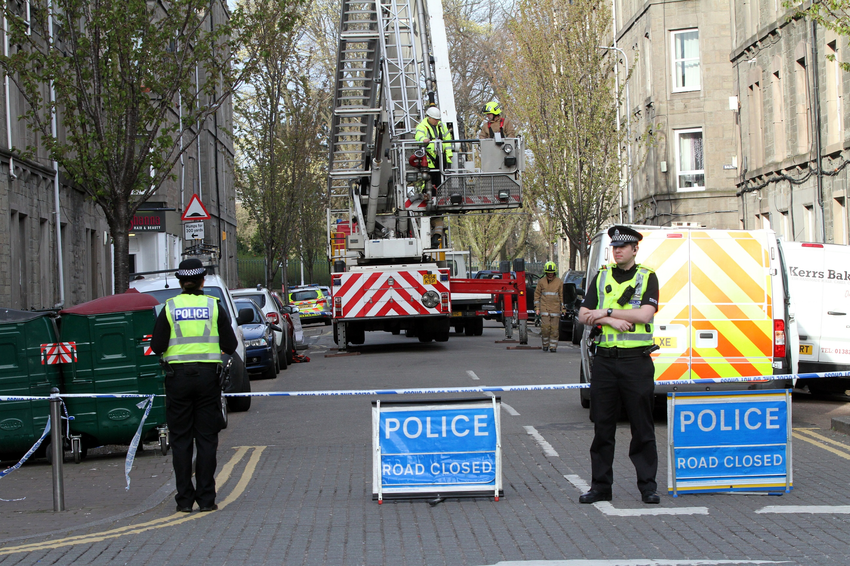 Fire officers on the scene in Park Avenue, Dundee,