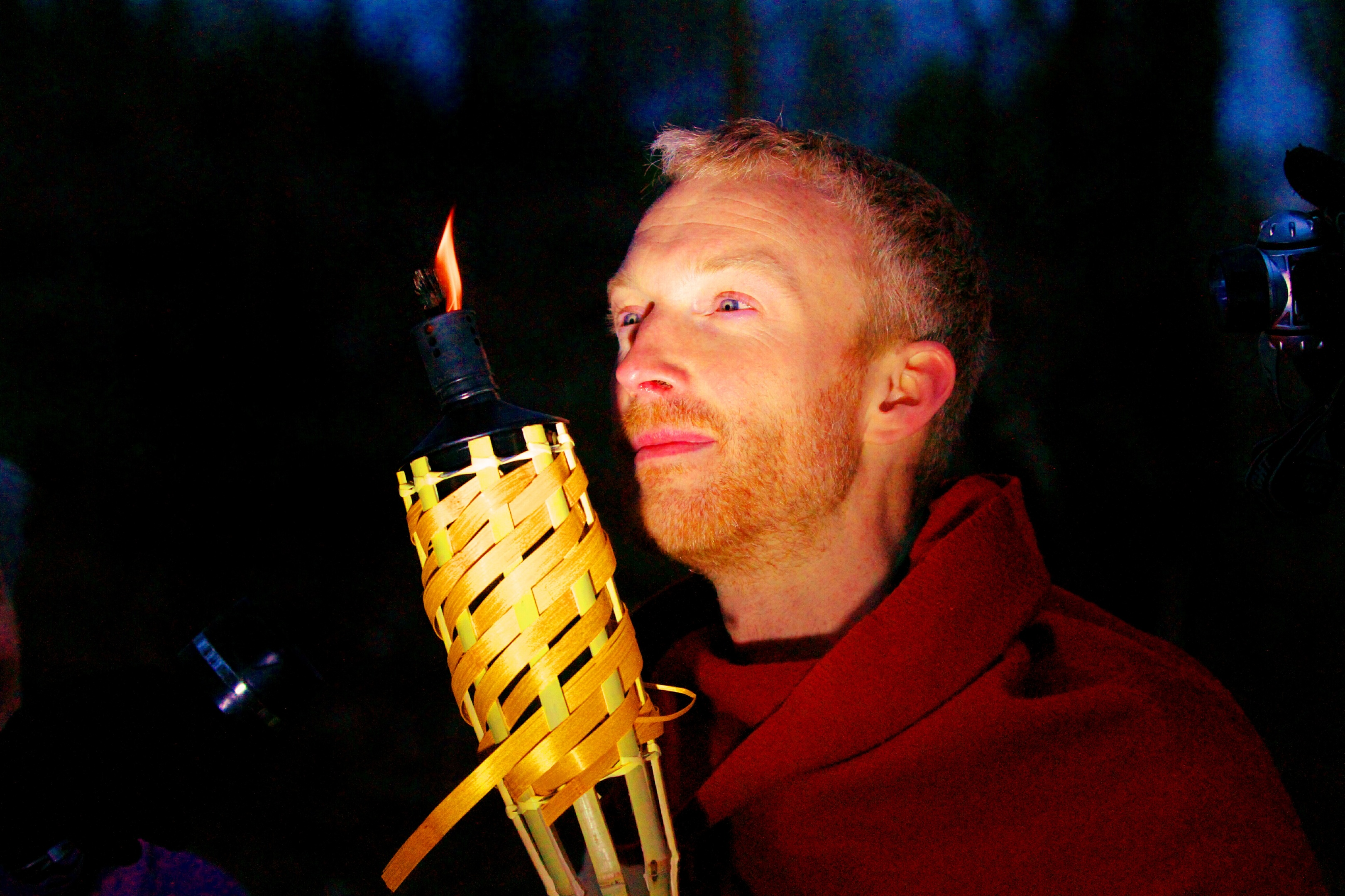 Gavin Lindsay of Perth and Kinross Heritage Trust dons Iron Age garb to lead a torchlight procession up Moncrieffe Hill.