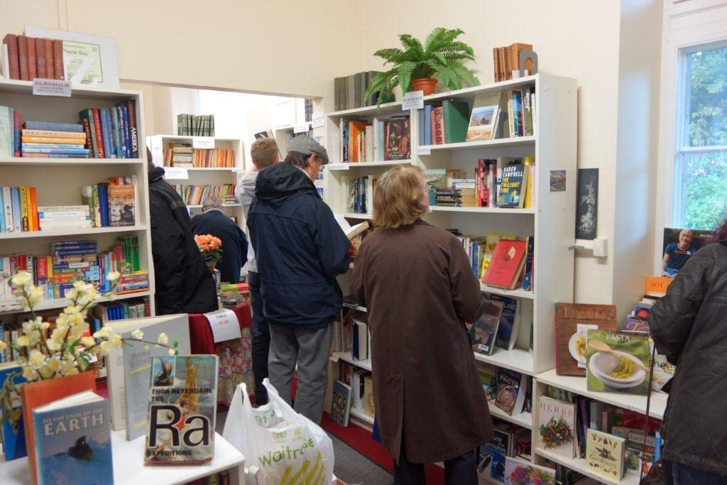 Shoppers peruse the shelves at the bookshop.